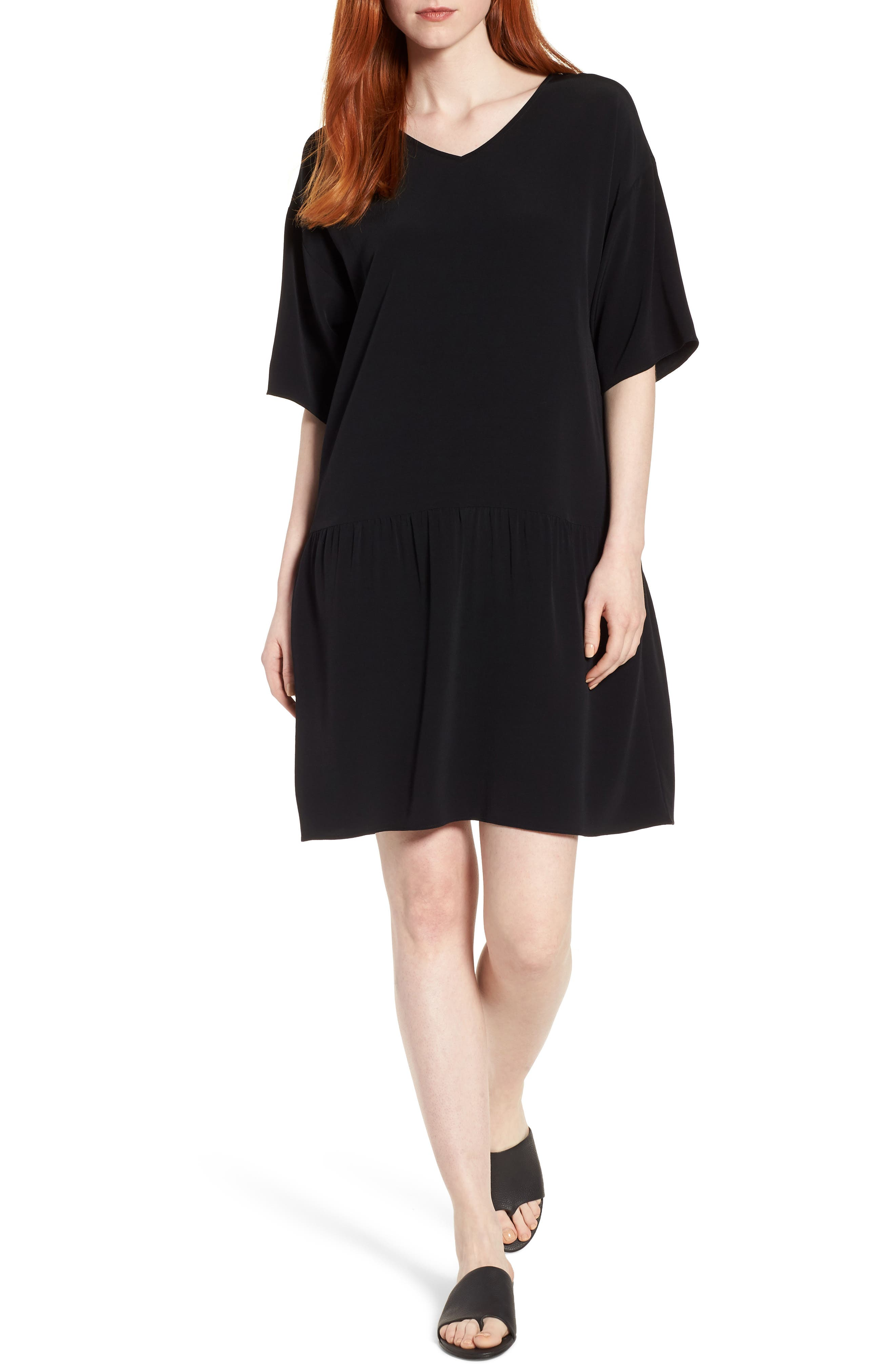 Drop Waist Tencel<sup>®</sup> Lyocell Blend Dress,                             Main thumbnail 1, color,                             001