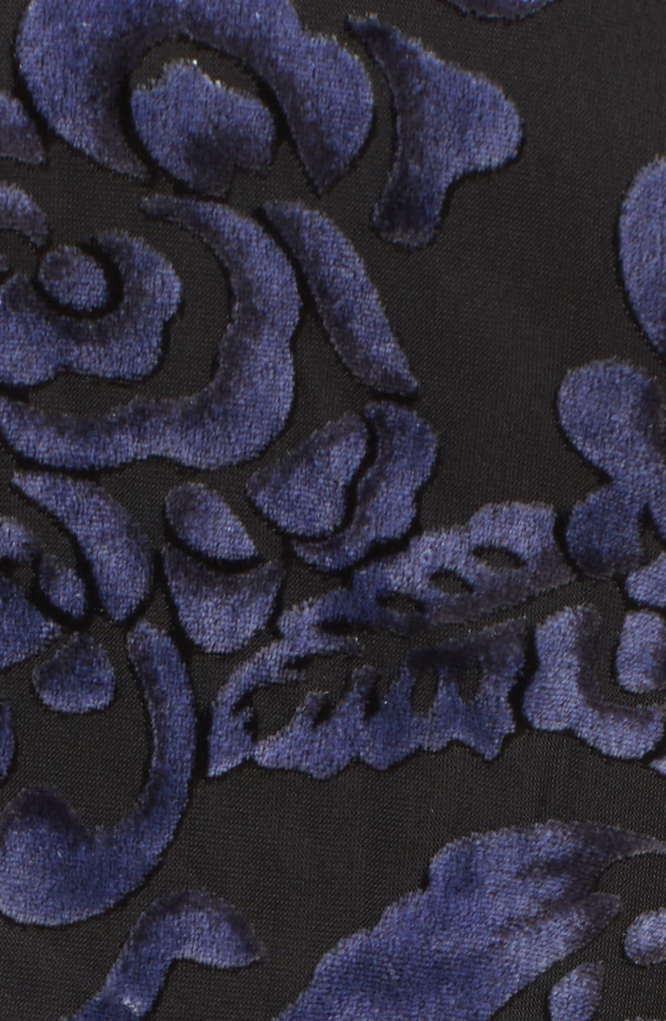 Velvet Halter Neck Fit & Flare Dress,                             Alternate thumbnail 5, color,