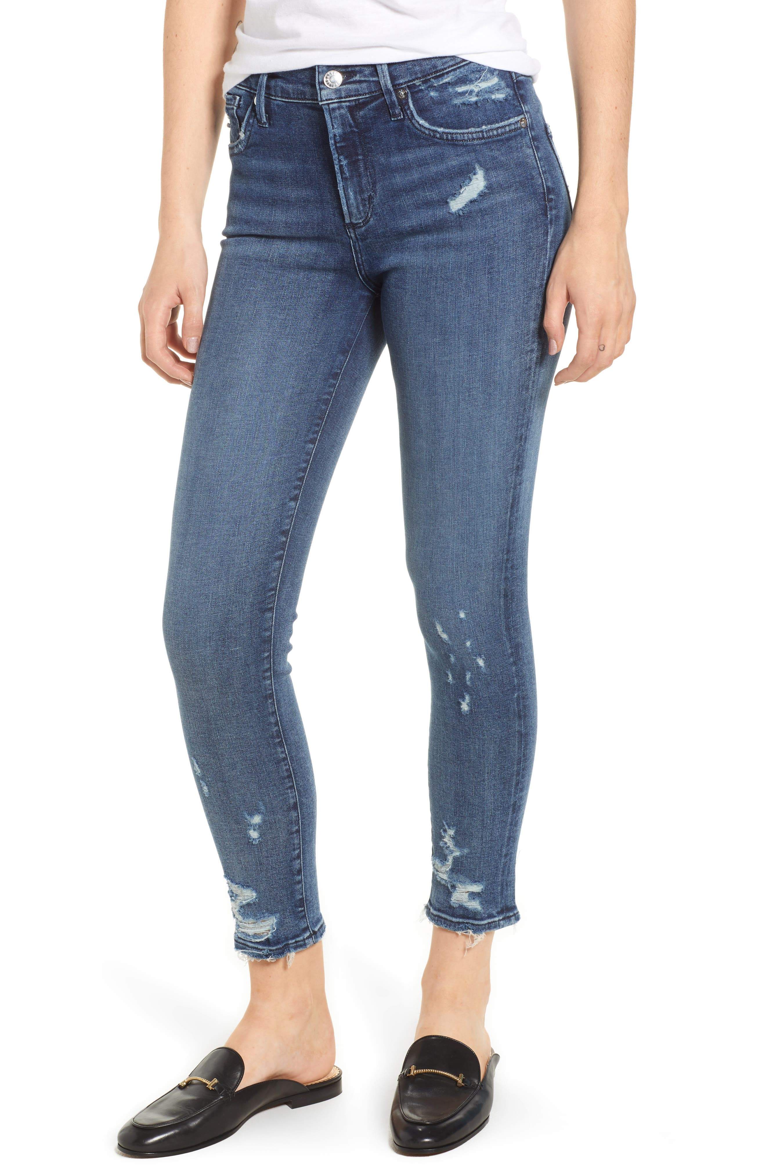 Sophie Distressed High Waist Crop Skinny Jeans,                             Main thumbnail 1, color,                             425