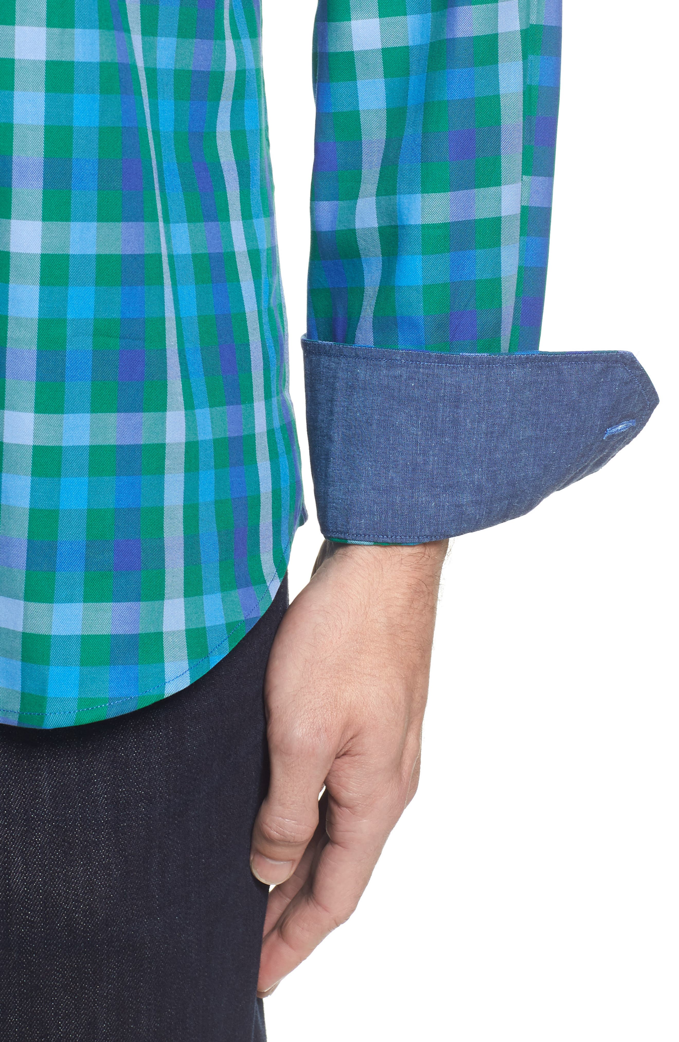 Shaped Fit Plaid Sport Shirt,                             Alternate thumbnail 4, color,                             313