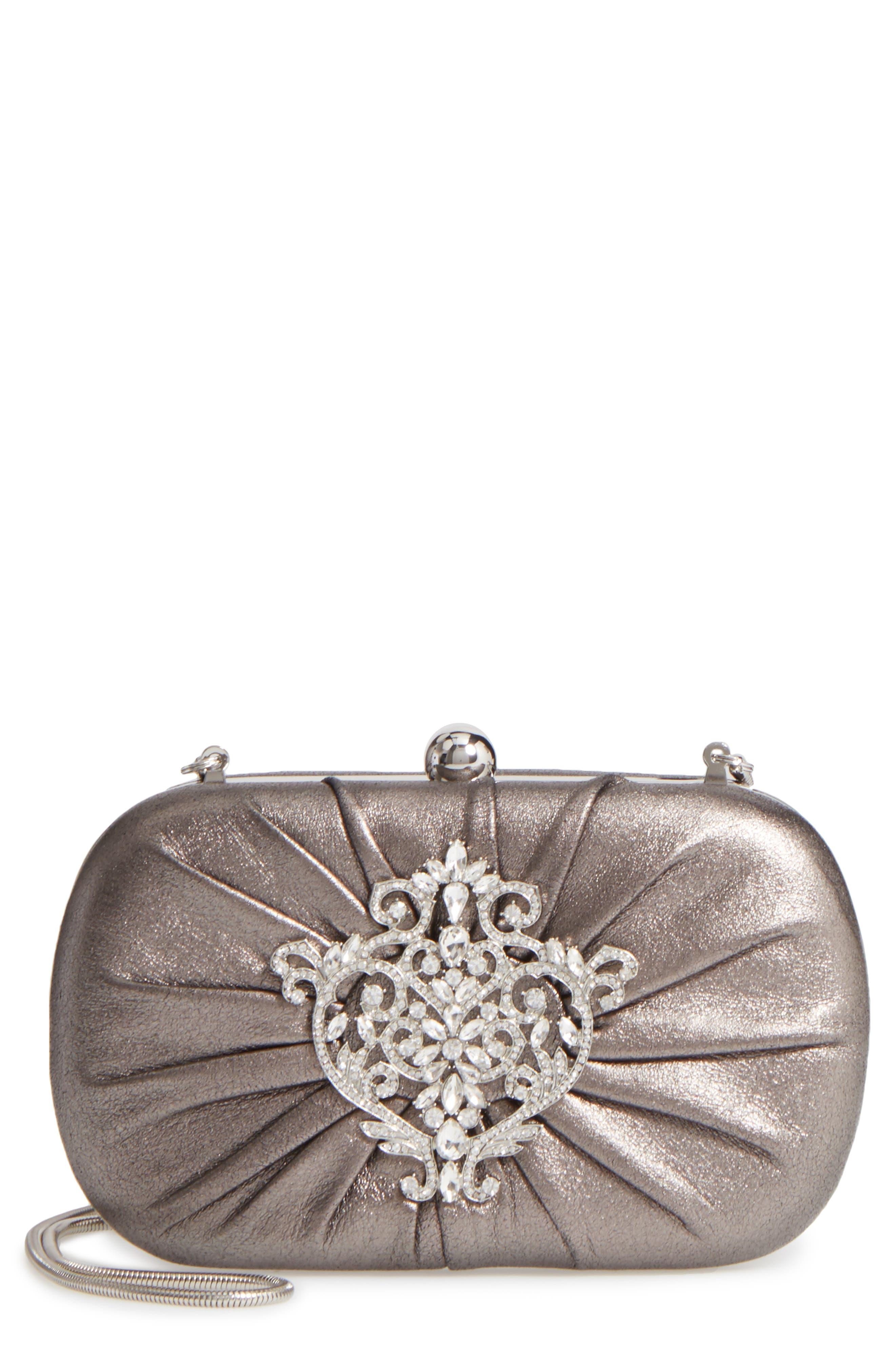 Diva Metallic Leather Clutch,                         Main,                         color, 040