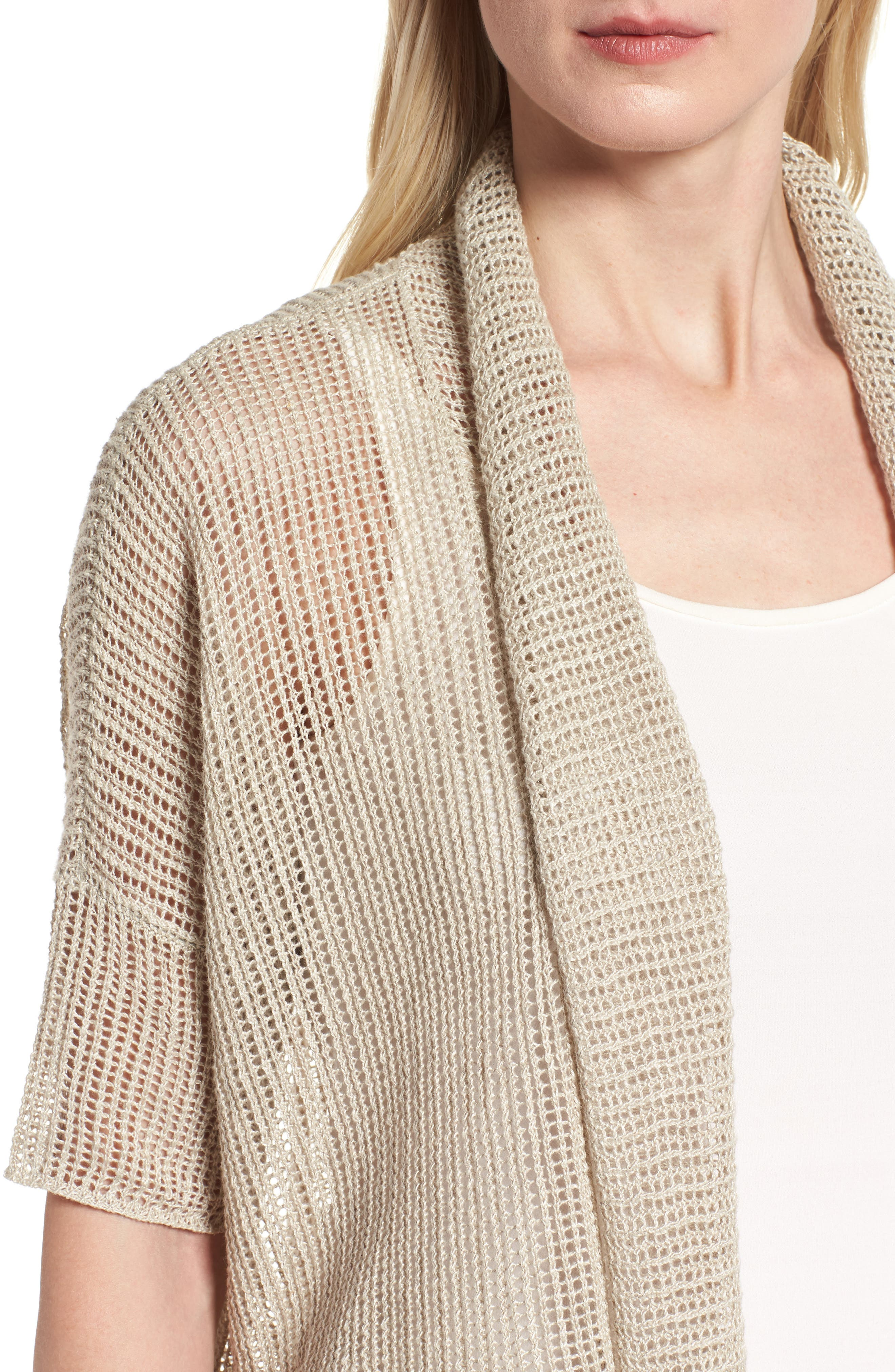Boxy Organic Linen Cardigan,                             Alternate thumbnail 18, color,