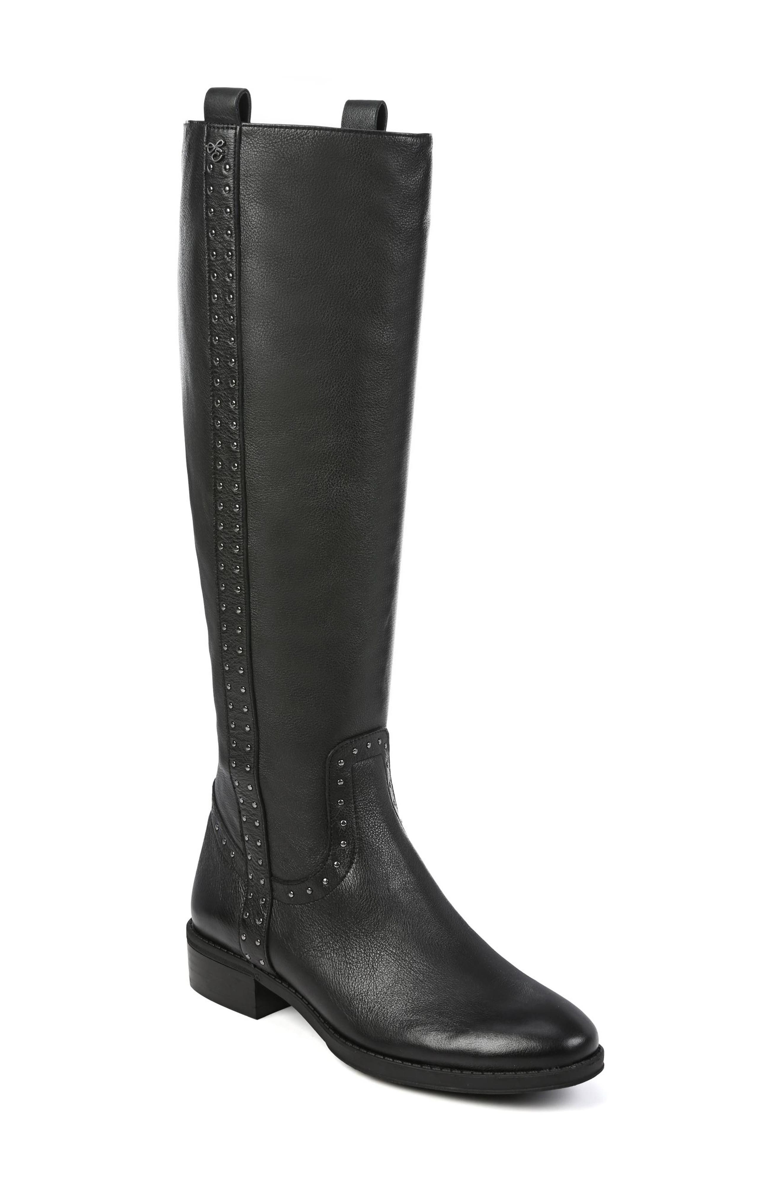 Prina Riding Boot,                             Main thumbnail 1, color,                             BLACK LEATHER
