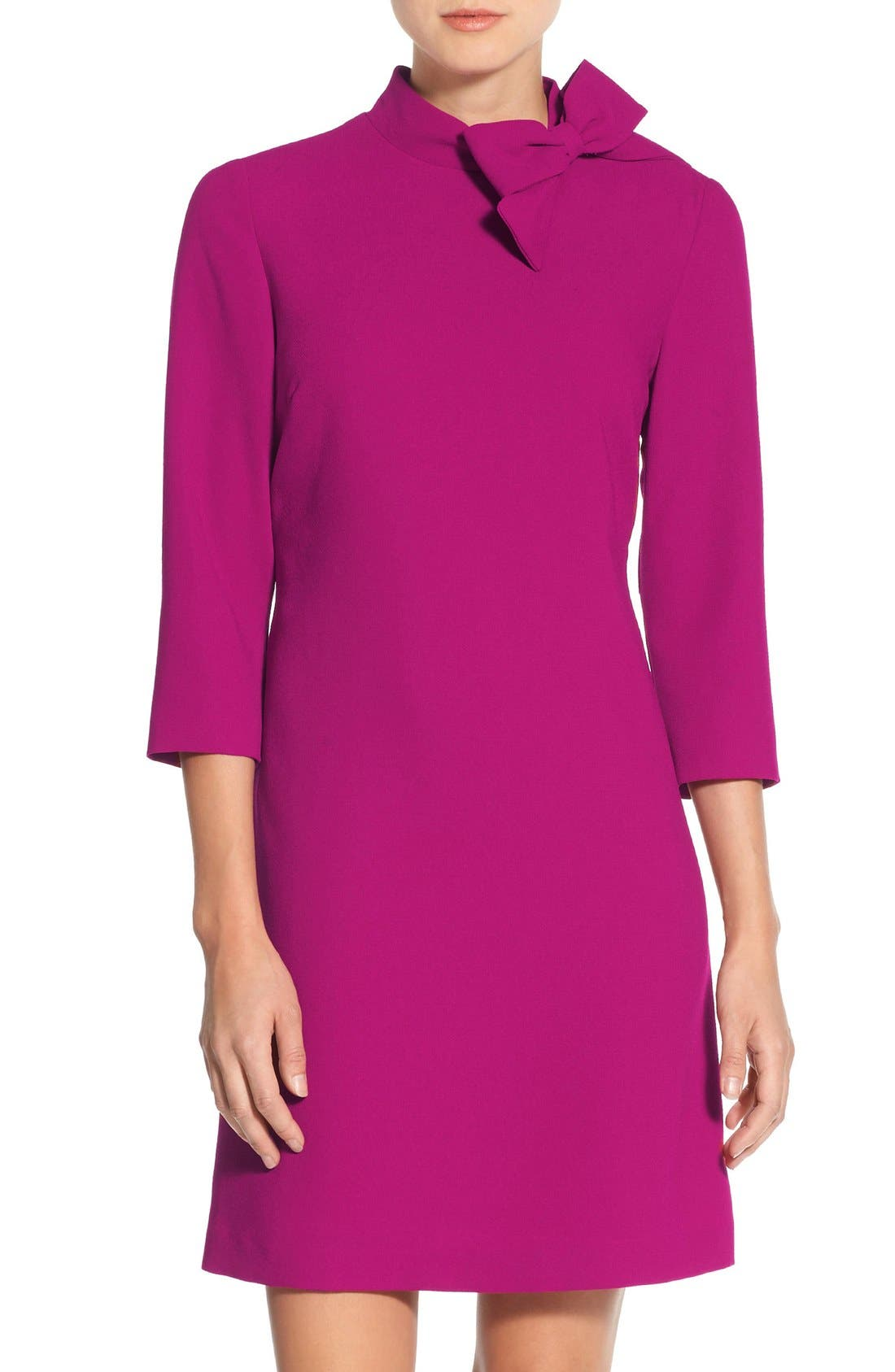 Bow Crepe A-Line Dress,                             Main thumbnail 1, color,                             PINK