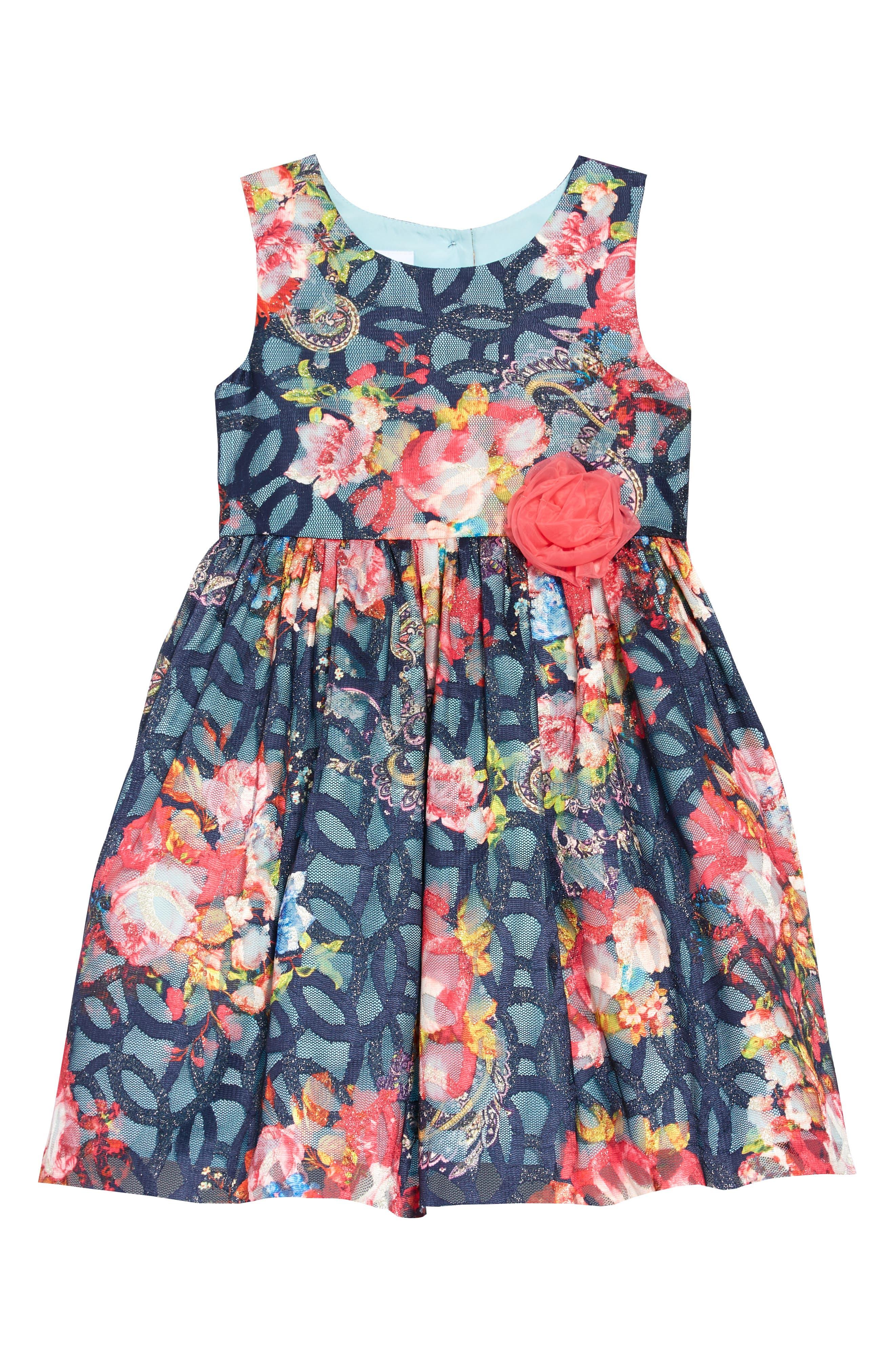 Floral Mesh Burnout Dress,                             Main thumbnail 1, color,                             400