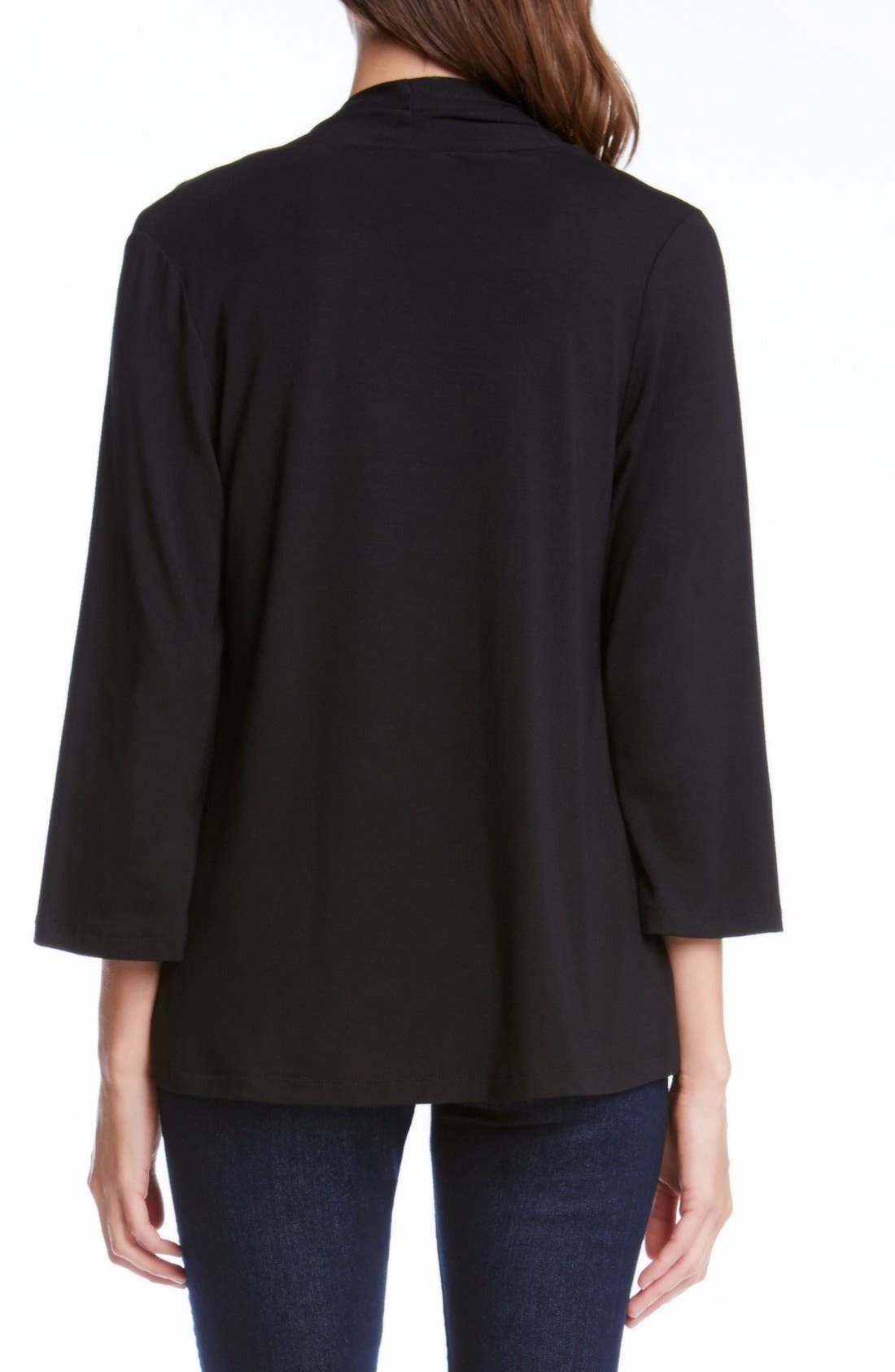 'Molly' Open Jersey Cardigan,                             Alternate thumbnail 2, color,                             BLACK