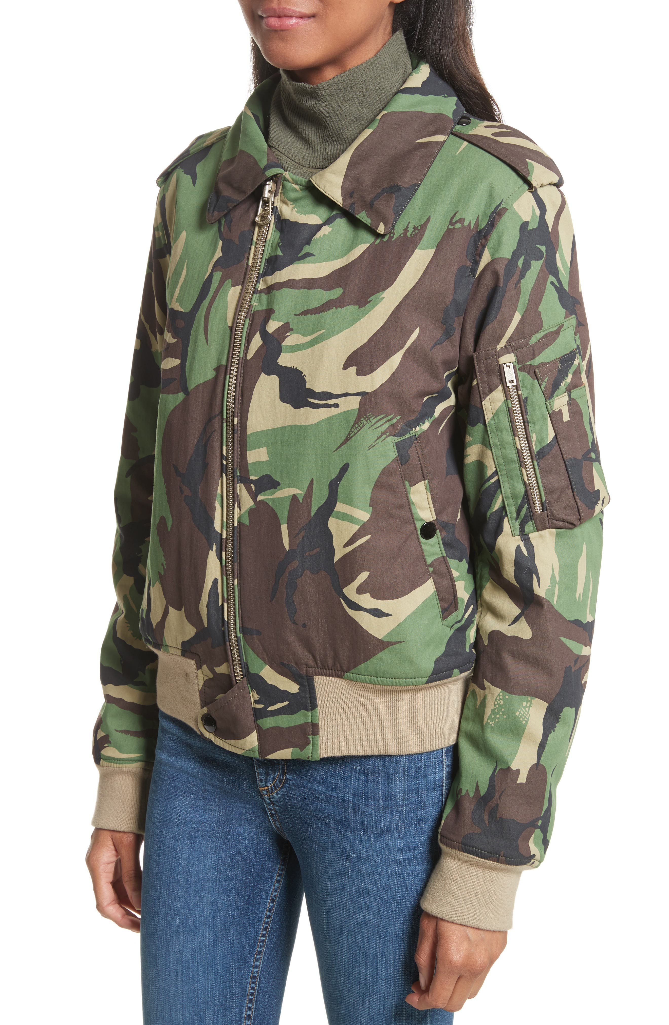 Camo Flight Jacket with Geniune Shearling Collar,                             Alternate thumbnail 2, color,                             300