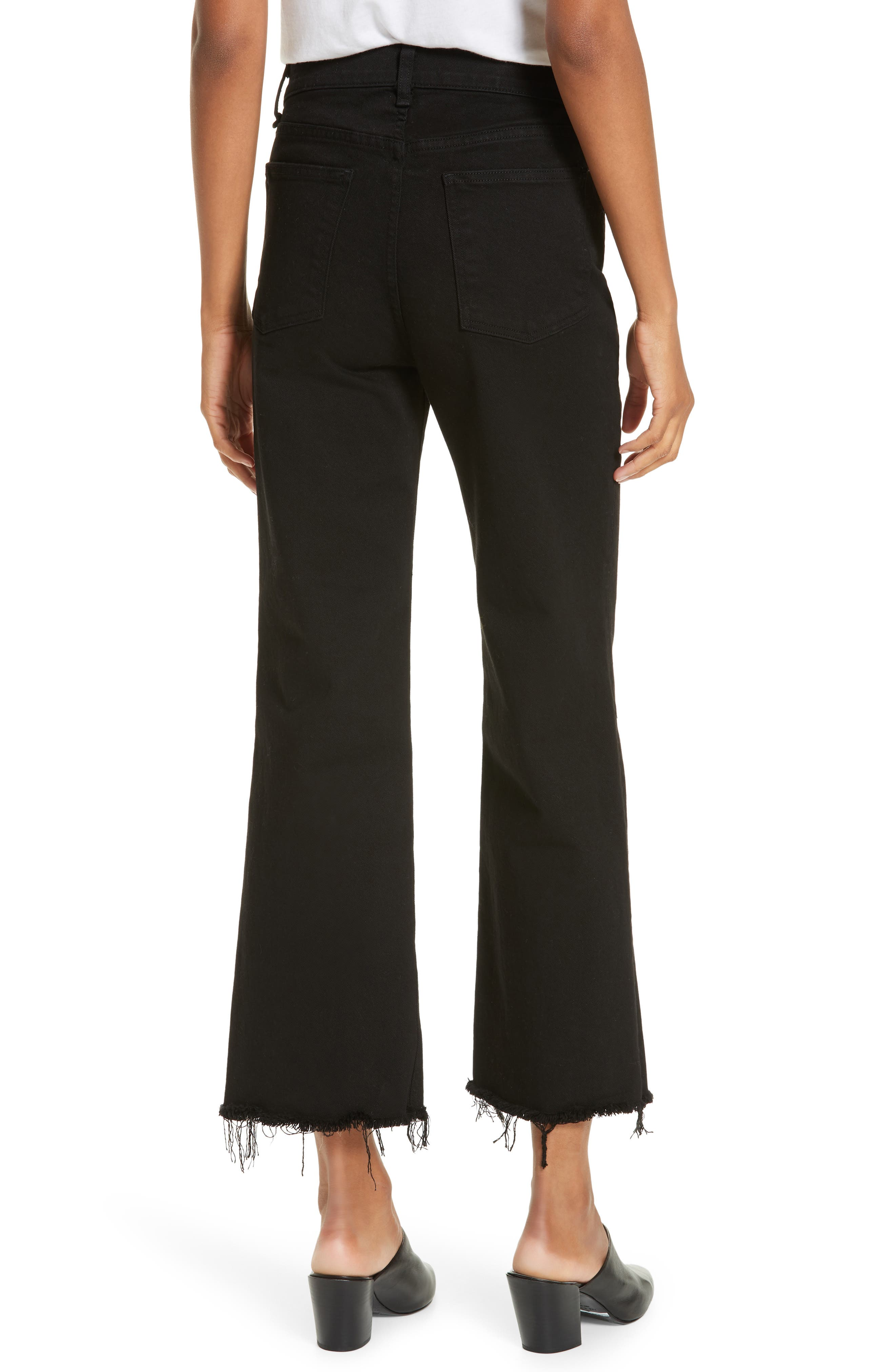RAG & BONE,                             Justine High Waist Cutoff Wide Leg Jeans,                             Alternate thumbnail 2, color,                             BLACK