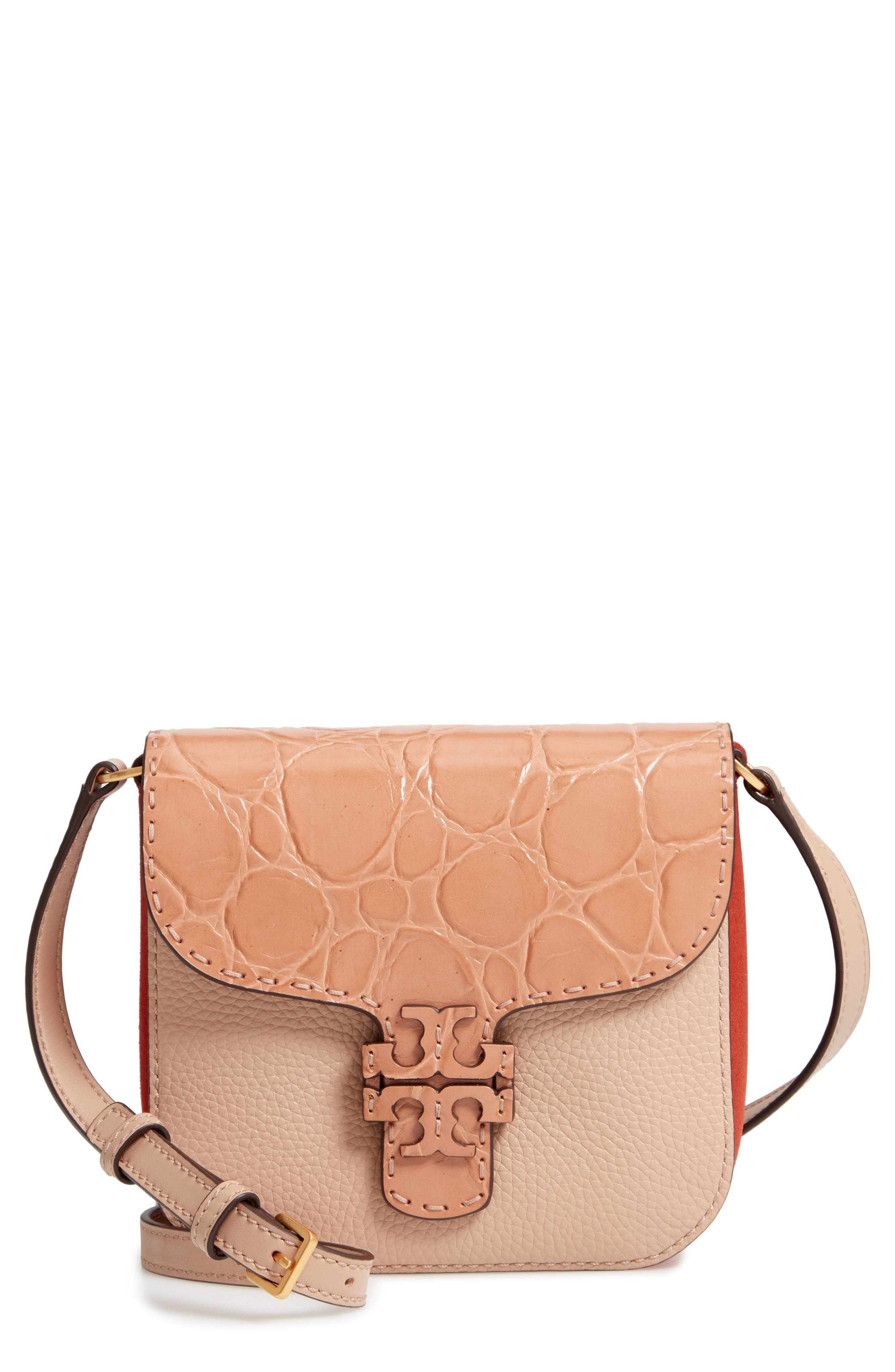 McGraw Croc Embossed Leather Crossbody Bag,                             Main thumbnail 1, color,                             200