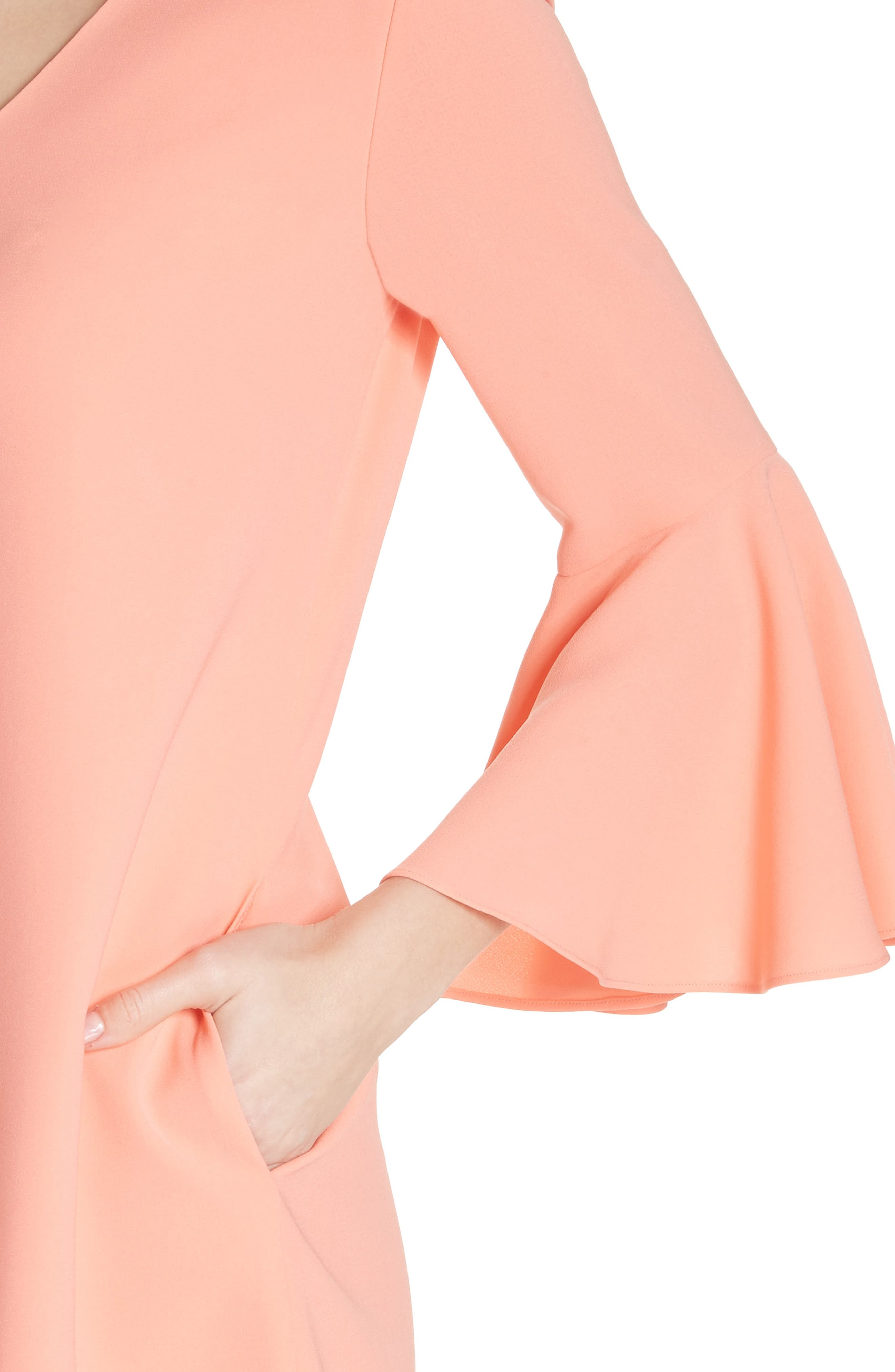 Holly Bell Sleeve Dress,                             Alternate thumbnail 4, color,                             CORAL REEF