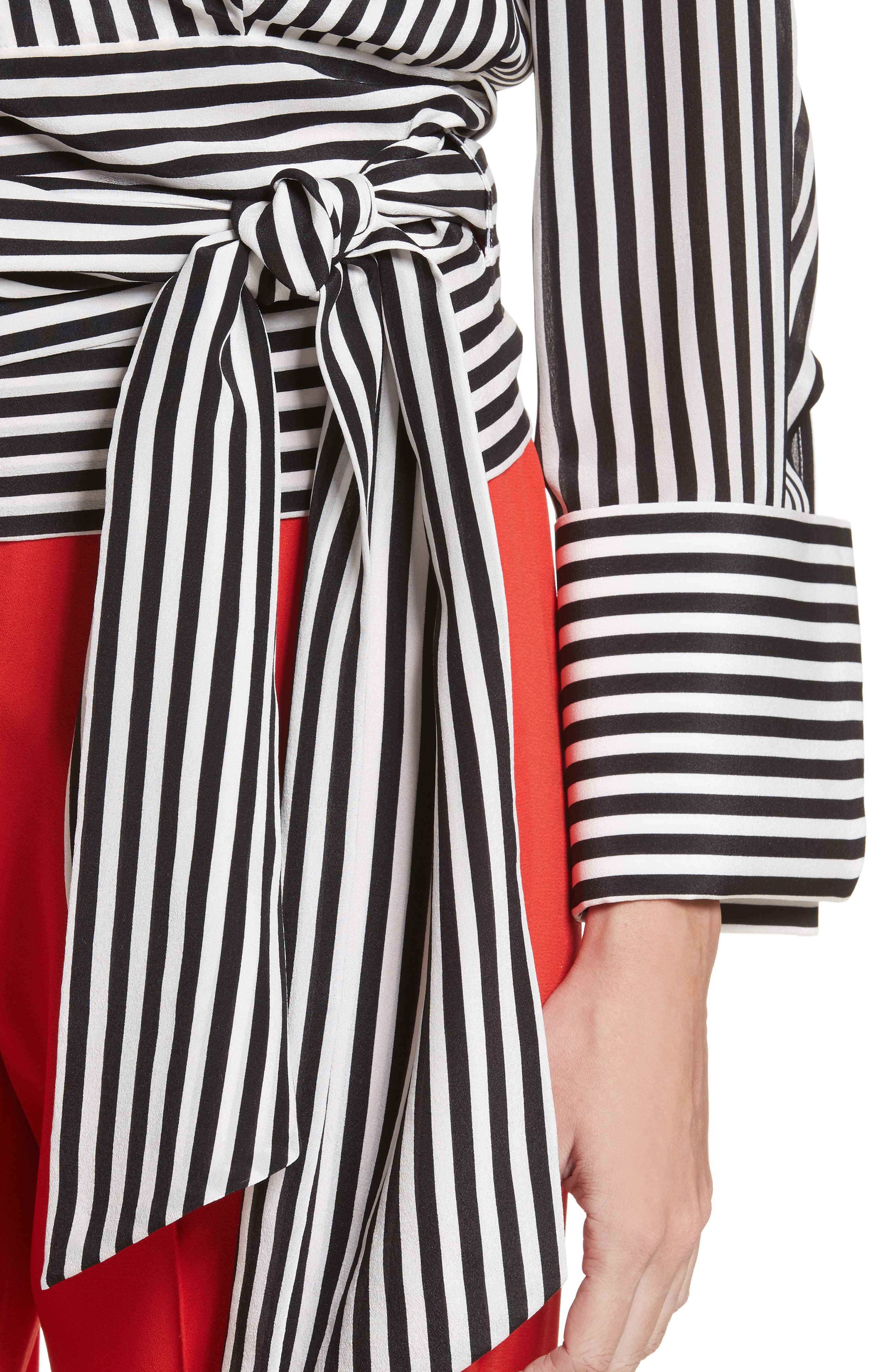 Alba Tie-Waist Silk Blouse,                             Alternate thumbnail 4, color,