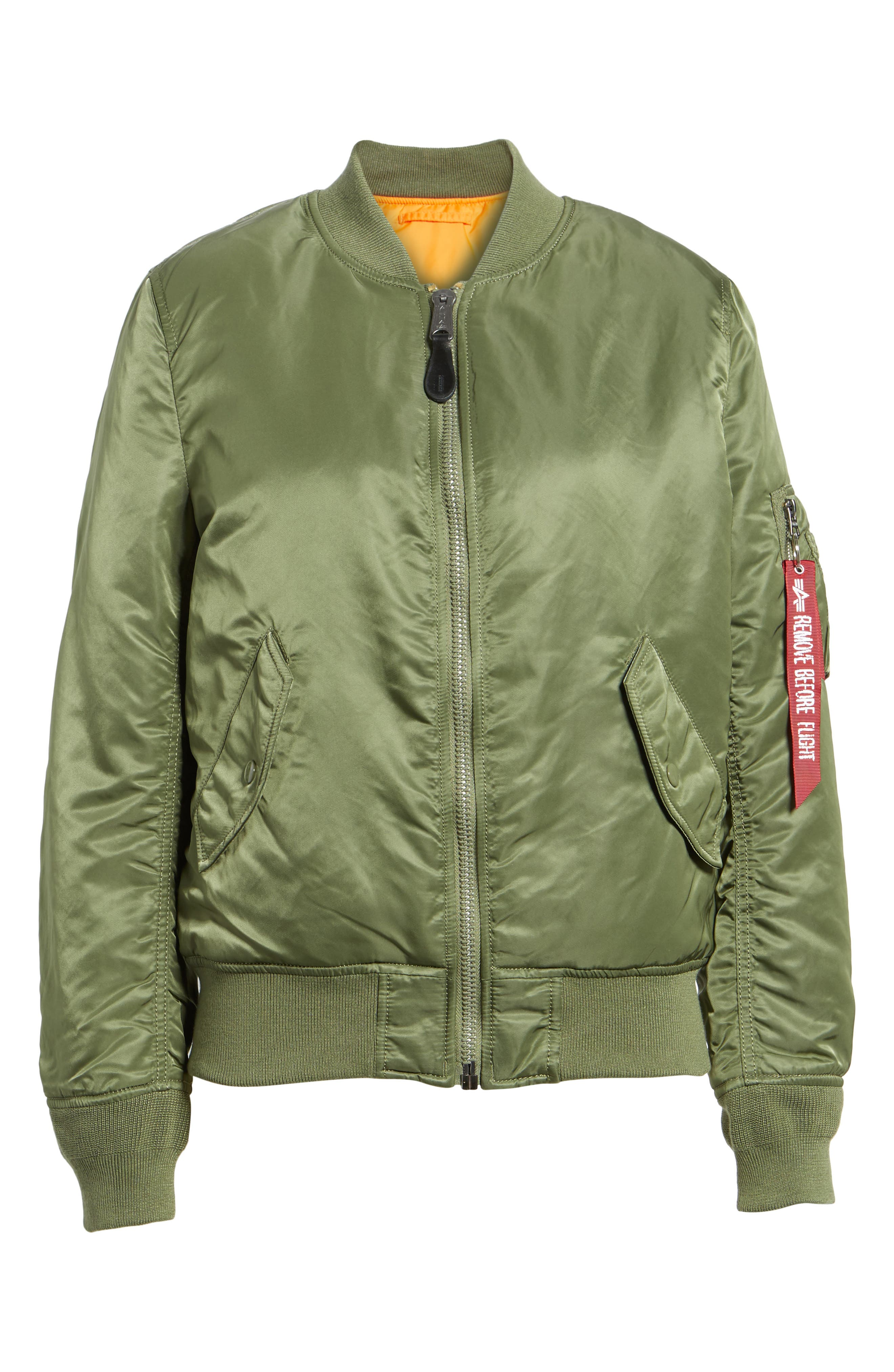 ALPHA INDUSTRIES,                             MA-1 W Bomber Jacket,                             Alternate thumbnail 6, color,                             SAGE GREEN