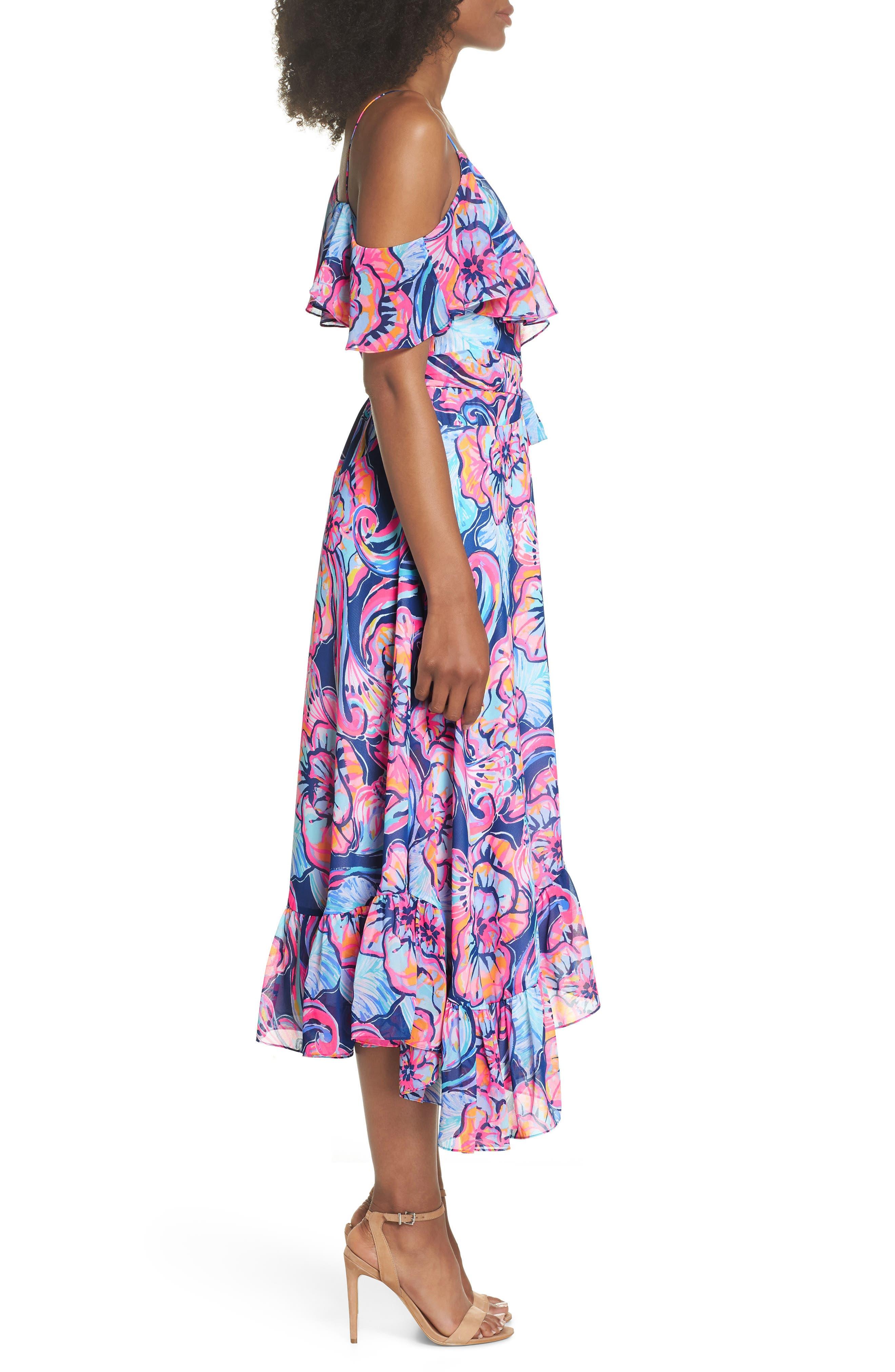 Marianna Asymmetric Midi Wrap Dress,                             Alternate thumbnail 3, color,                             475