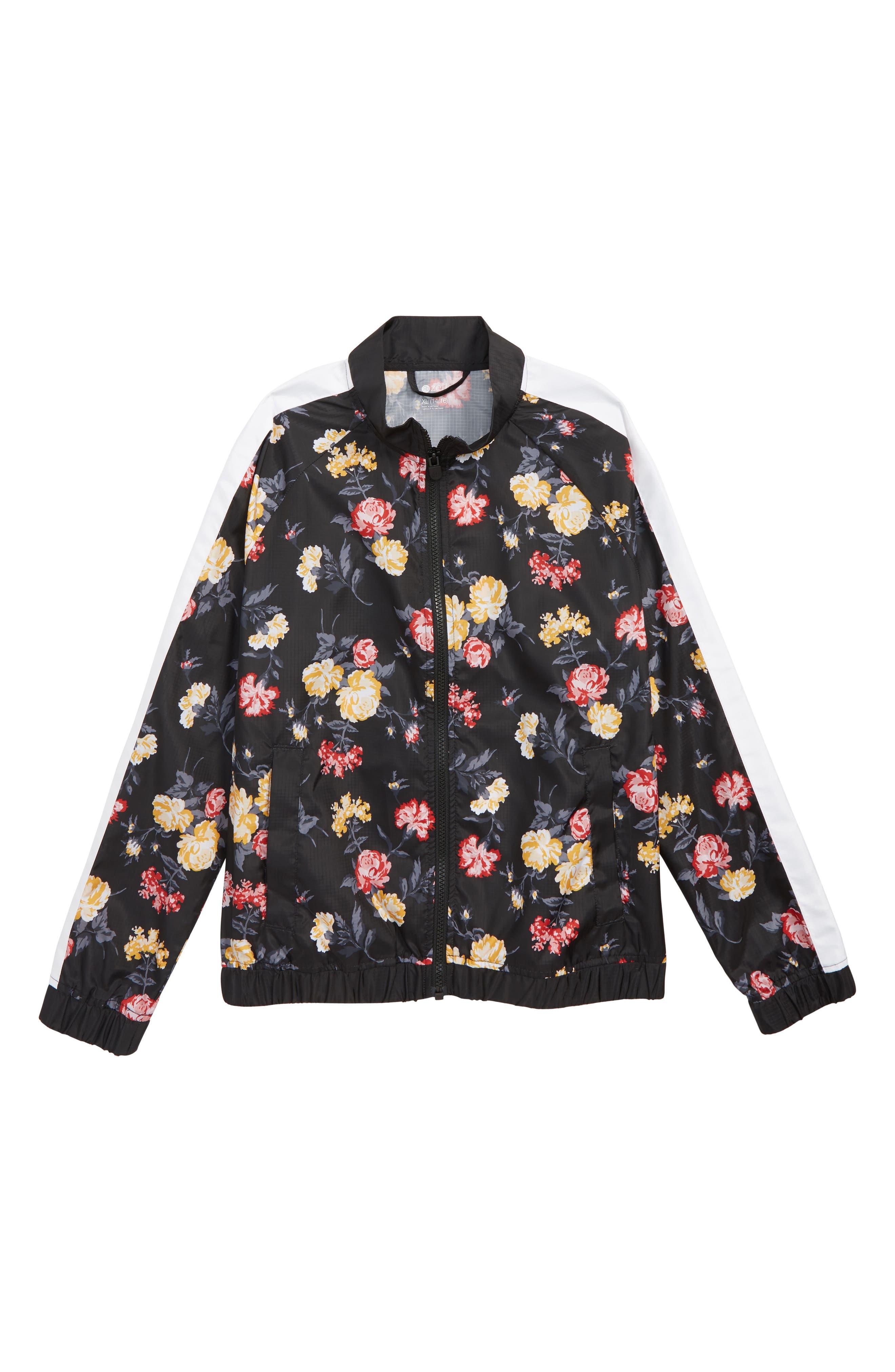 Flower Print Stripe Bomber Jacket,                         Main,                         color, 001