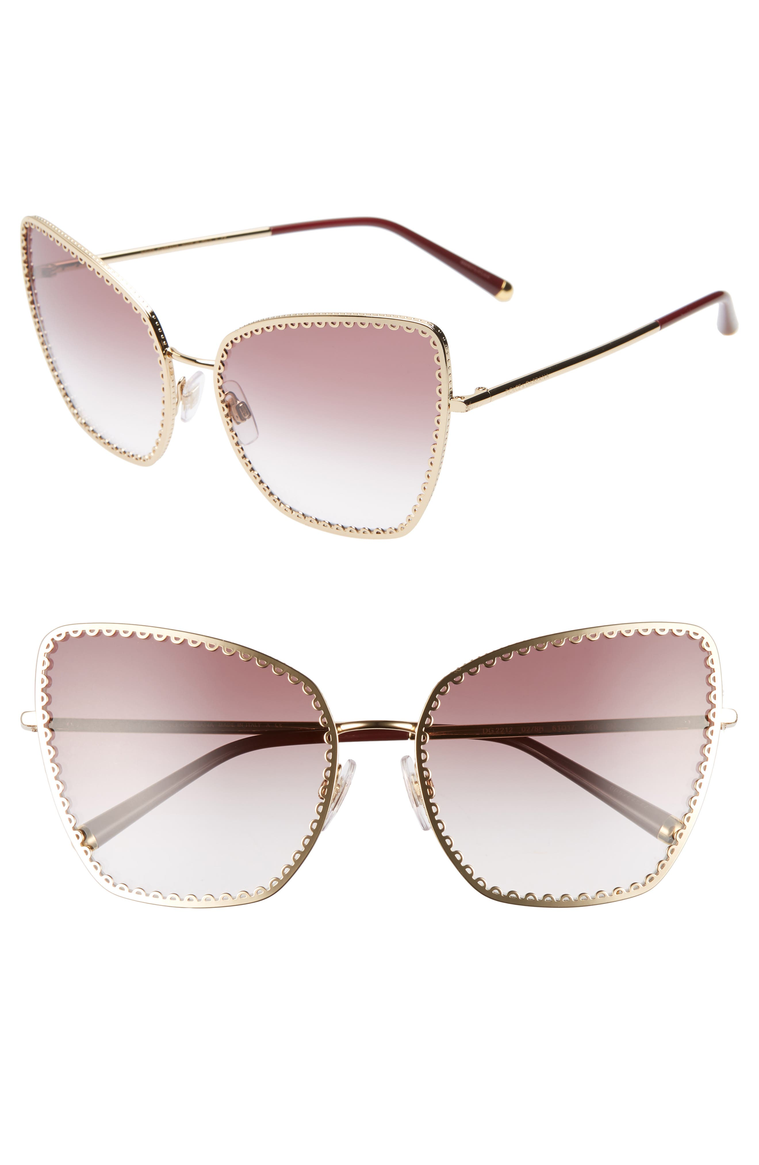 Dolce & gabbana Sacred Heart 61Mm Gradient Cat Eye Sunglasses - Gold Violet Gradient