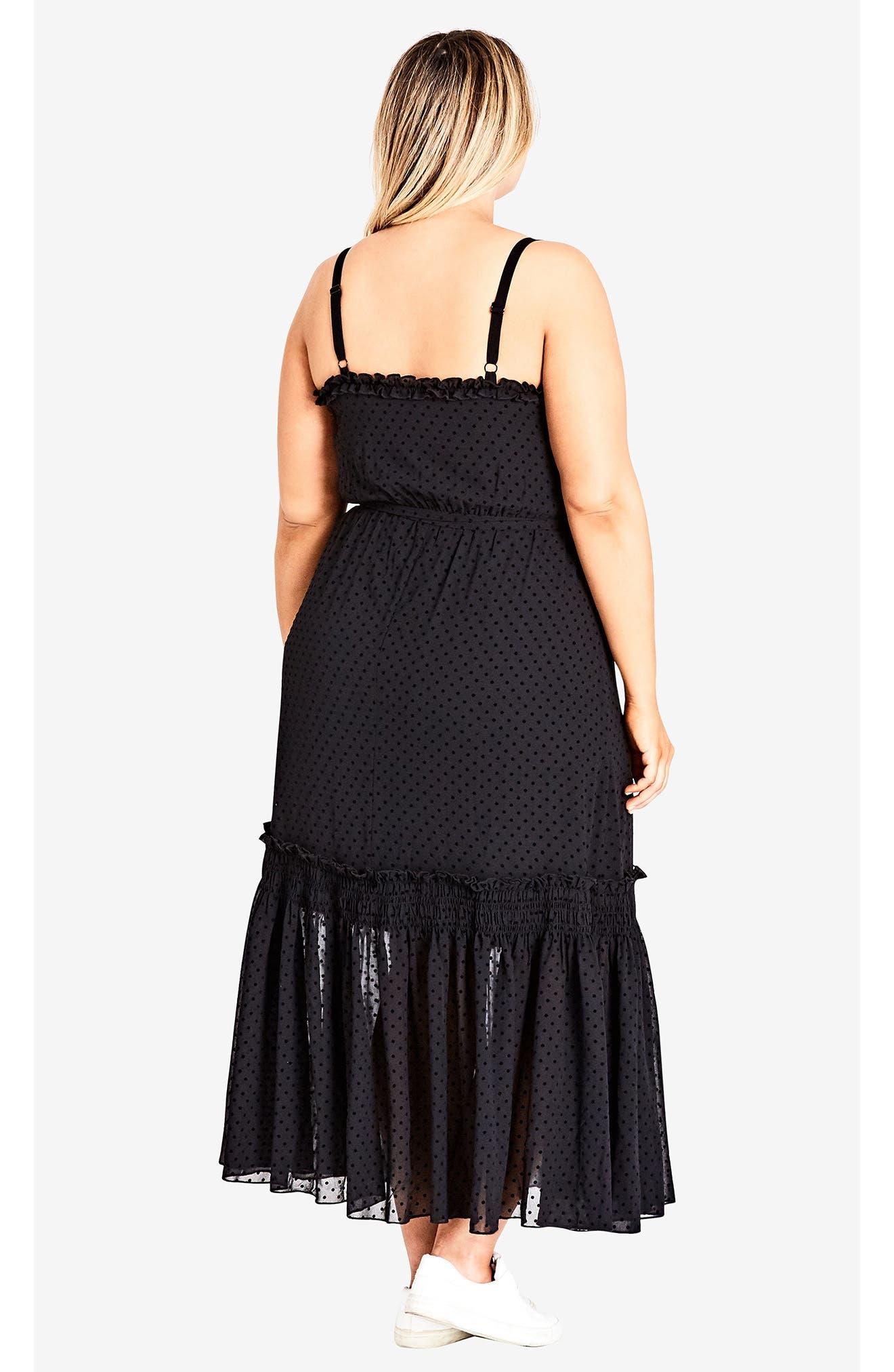 Flocked Spot Maxi Dress,                             Alternate thumbnail 4, color,                             BLACK SPOT