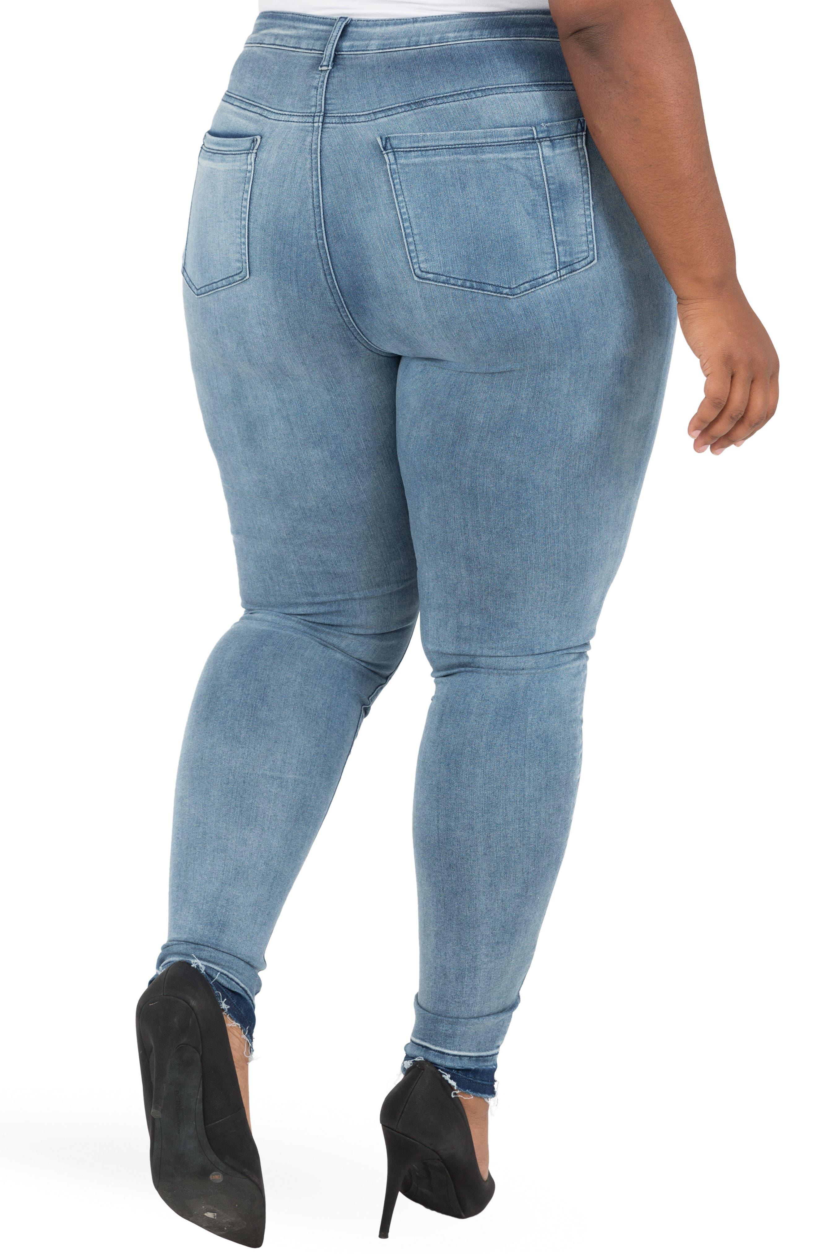 Corrine Release Hem Skinny Crop Jeans,                             Alternate thumbnail 2, color,                             LIGHT BLUE
