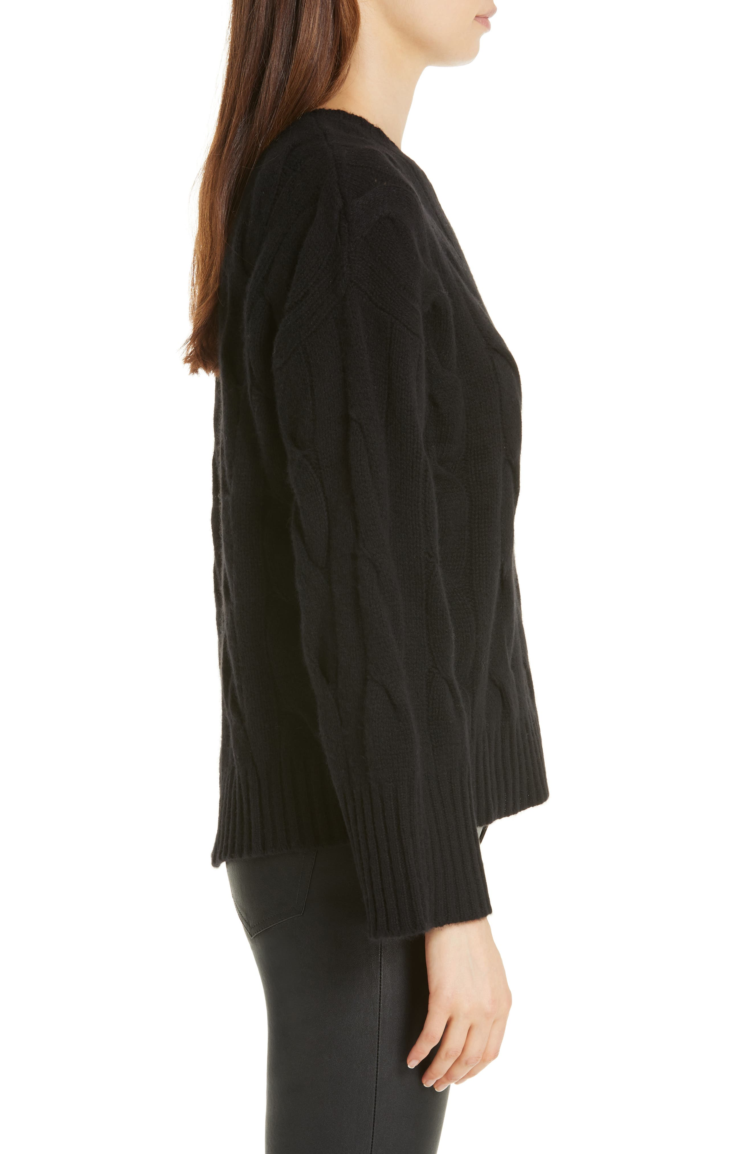 Dolman Sleeve Cable Knit Sweater,                             Alternate thumbnail 3, color,                             POLO BLACK