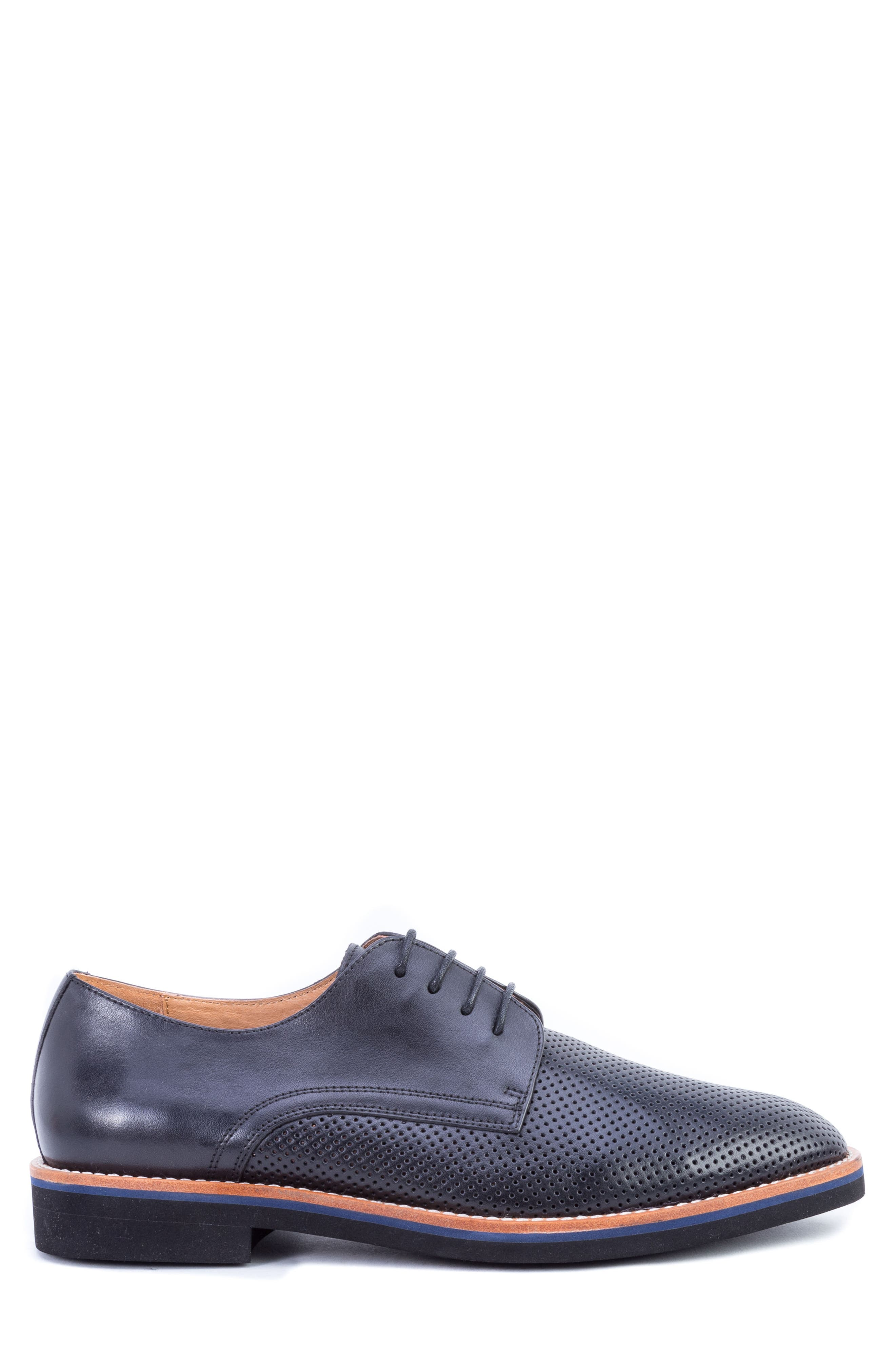 Hartung Perforated Plain Toe Derby,                             Alternate thumbnail 3, color,                             BLACK LEATHER
