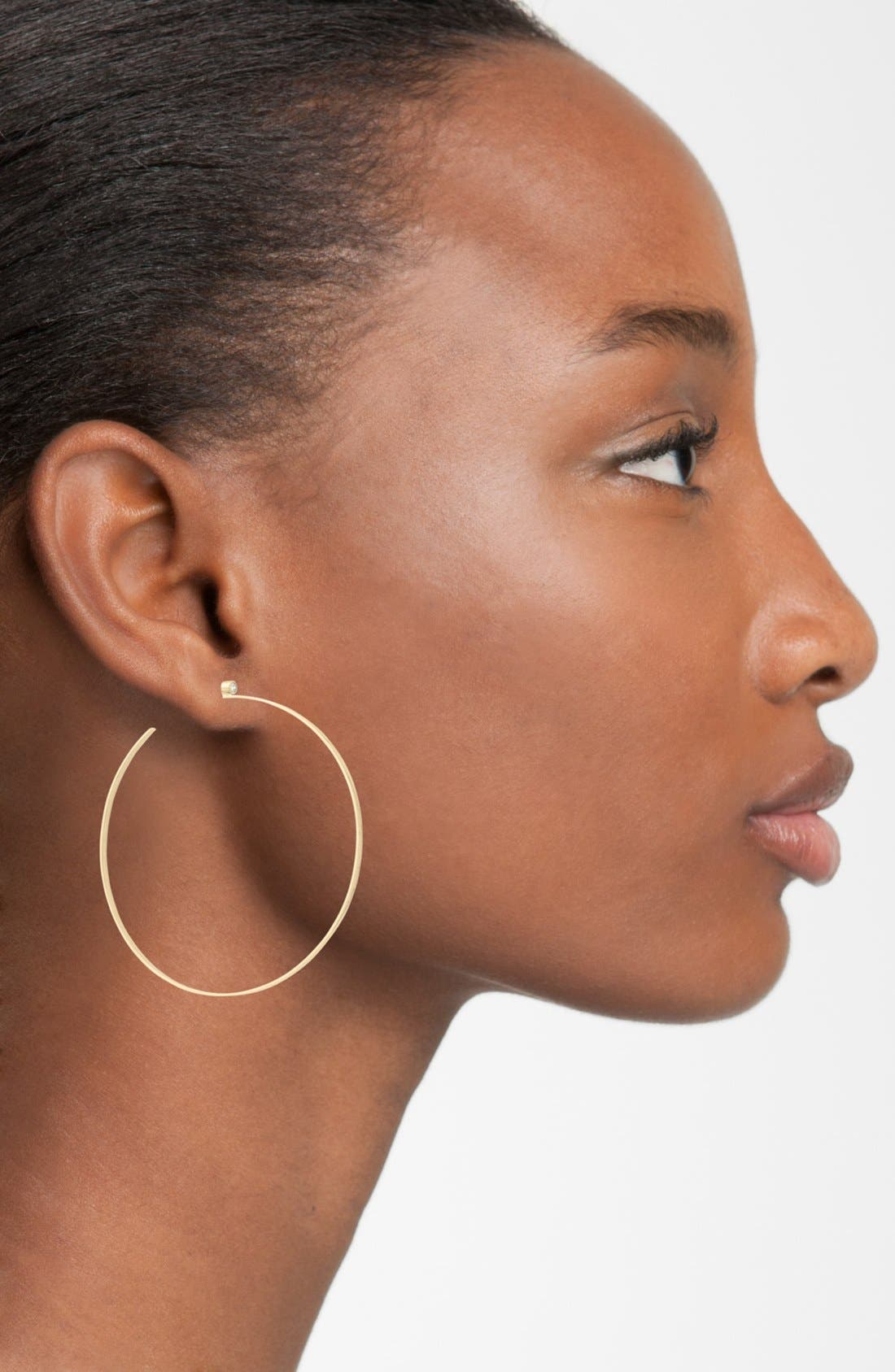 Diamond Hoop Earrings,                             Alternate thumbnail 3, color,                             710