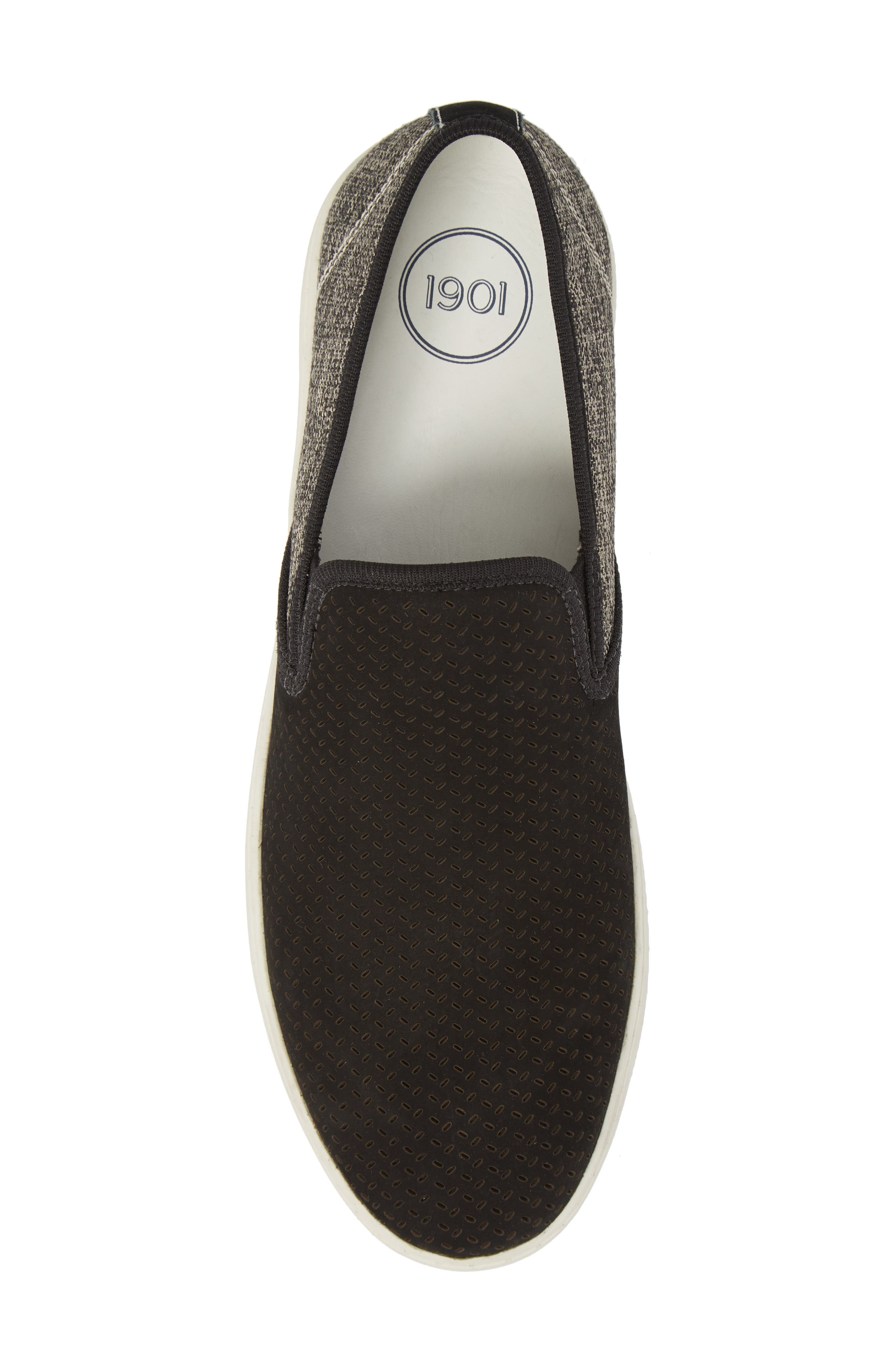 Malibu Perforated Loafer,                             Alternate thumbnail 5, color,                             BLACK LEATHER / GREY CANVAS