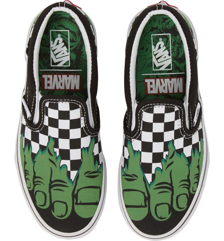 ffbb3f83c46 Vans x Marvel® Hulk Checkerboard Slip-On Sneaker (Baby