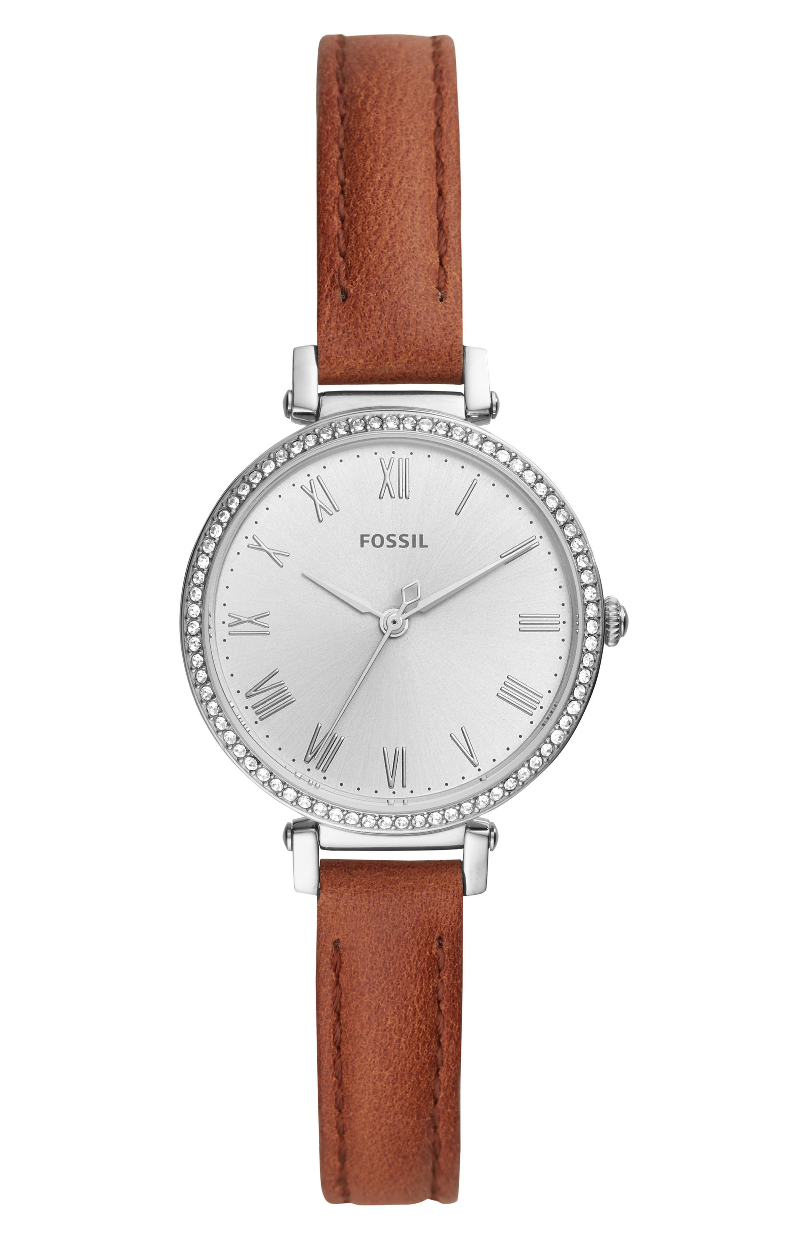 FOSSIL,                             Kinsey Leather Strap Watch, 28mm,                             Main thumbnail 1, color,                             BROWN/ SILVER