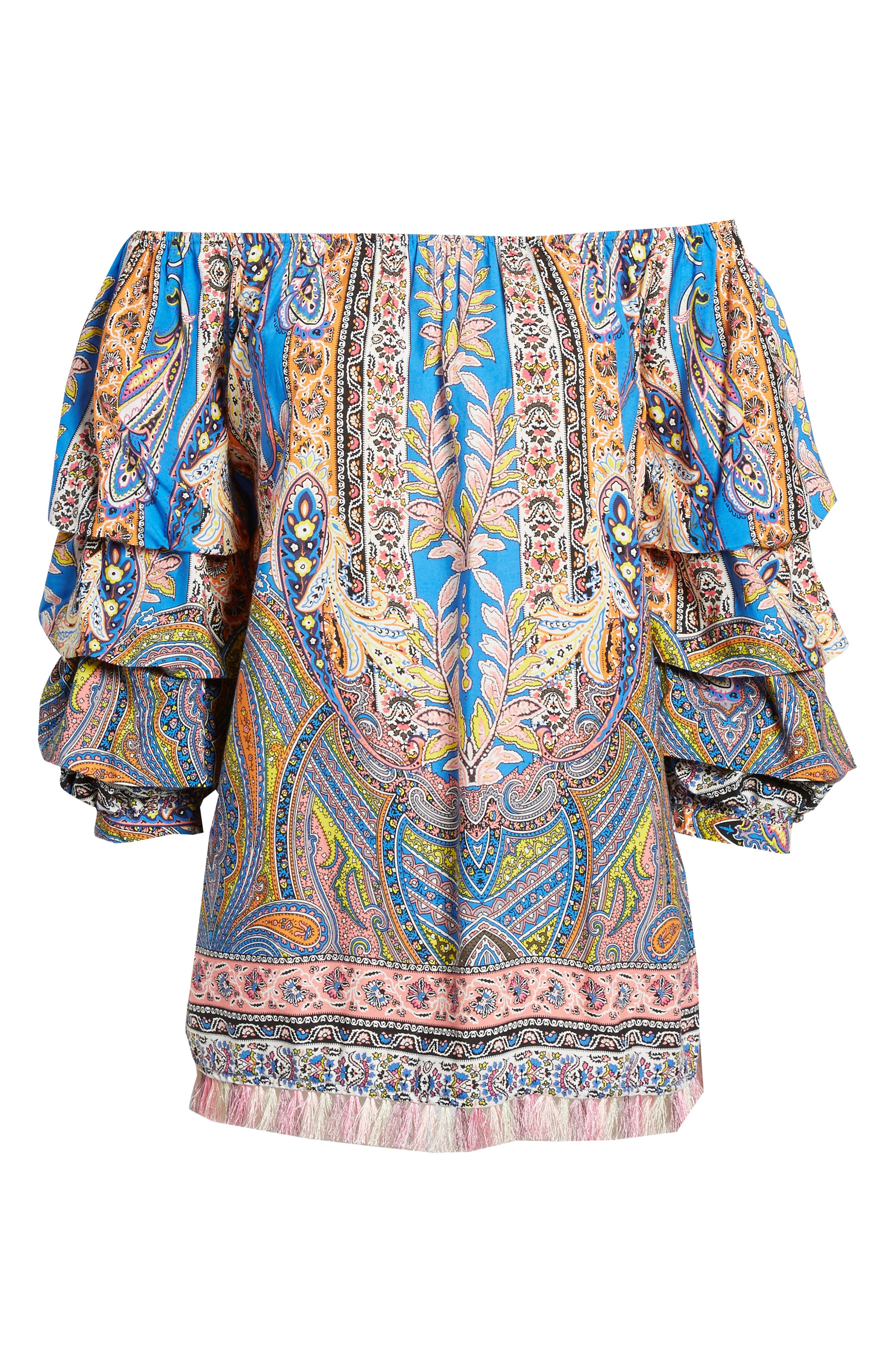 Requena Peasant Blouse,                             Alternate thumbnail 6, color,                             PASILEY PRINT