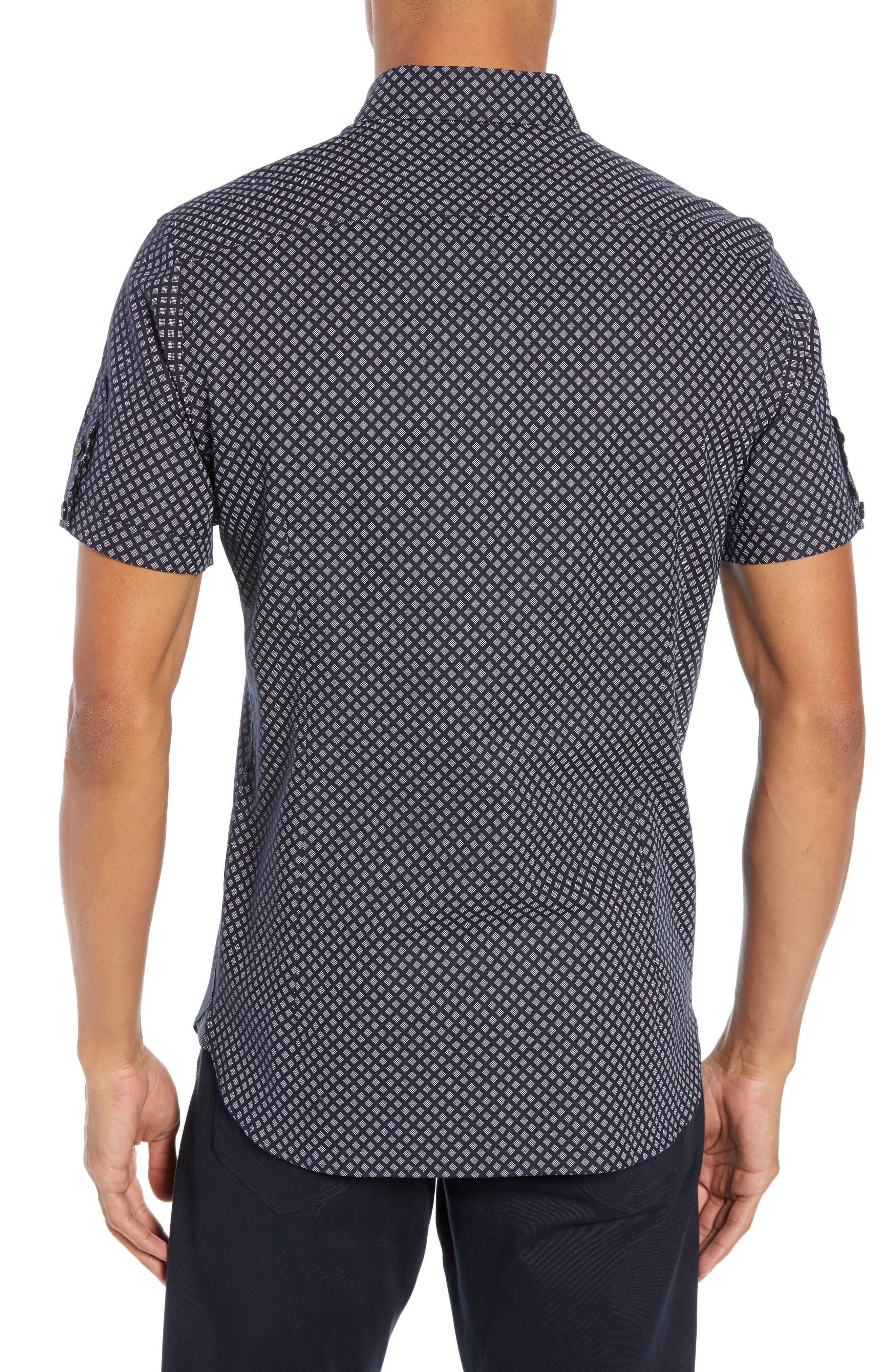 Slim Fit Foresth Diamond Pattern Woven Shirt,                             Alternate thumbnail 3, color,                             NAVY