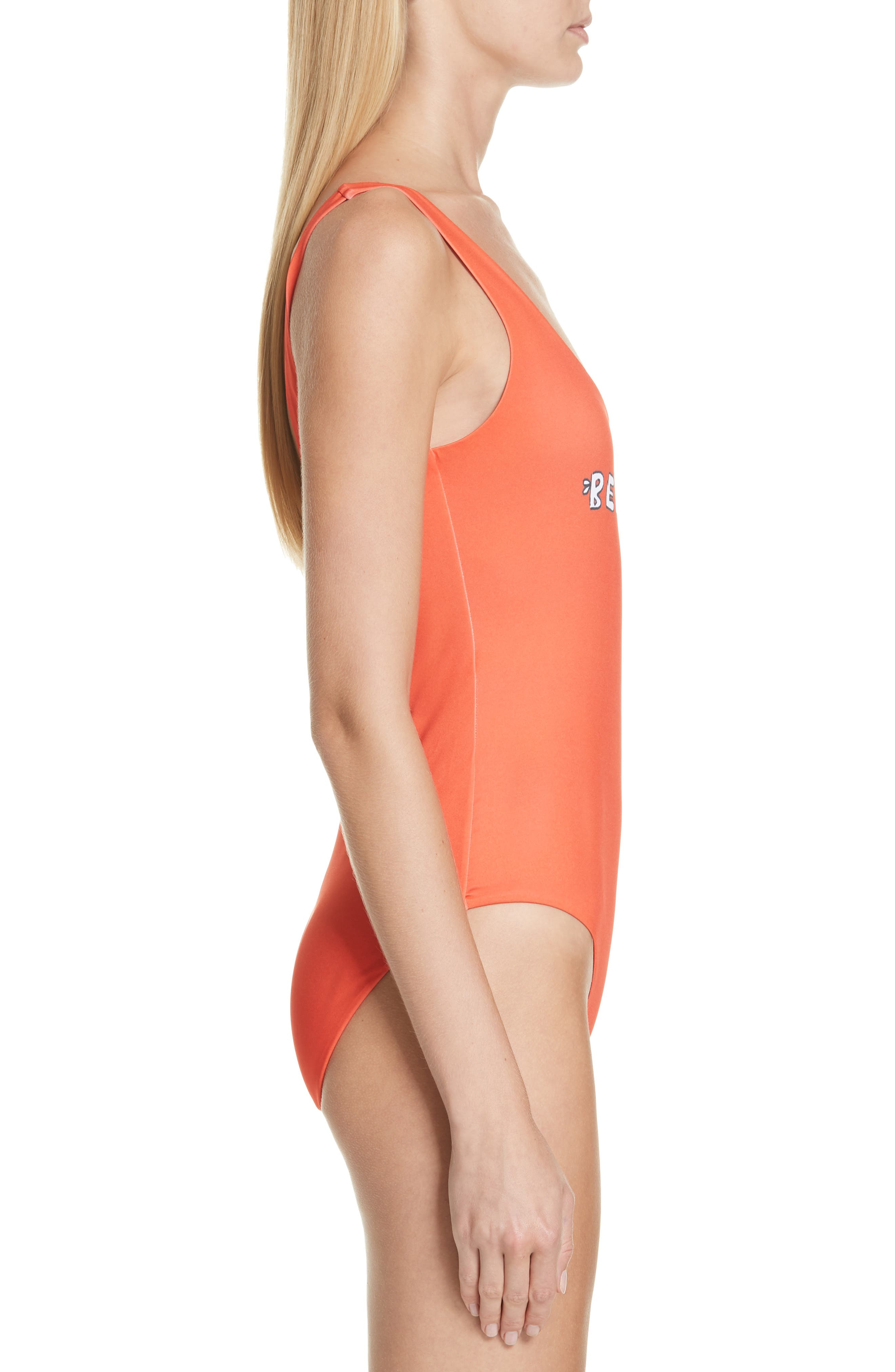Profilic One-Piece Swimsuit,                             Alternate thumbnail 3, color,                             BIG APPLE RED