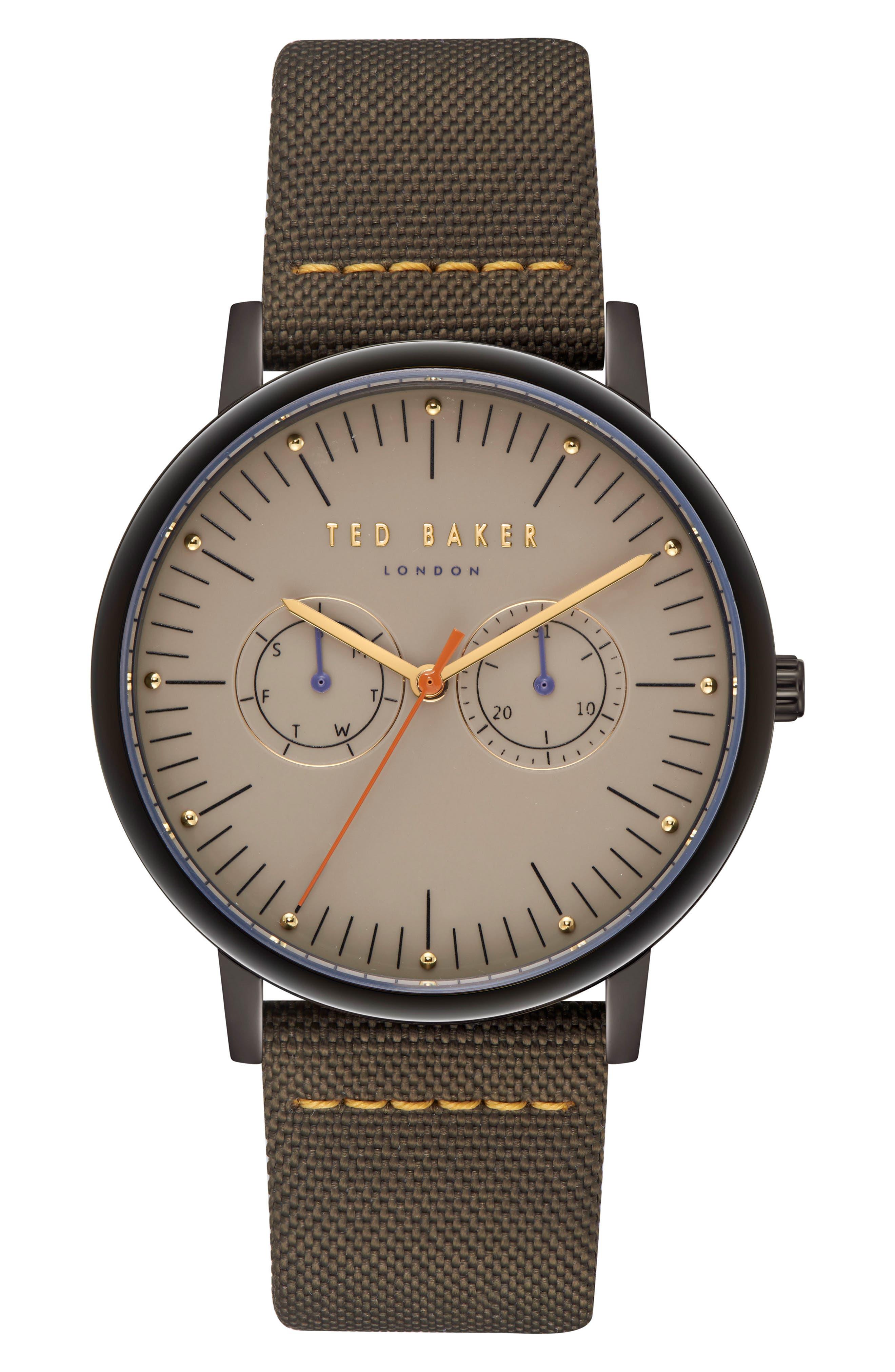 Brit Leather Strap Watch, 40mm,                         Main,                         color, LIGHT BROWN/ DARK GREEN