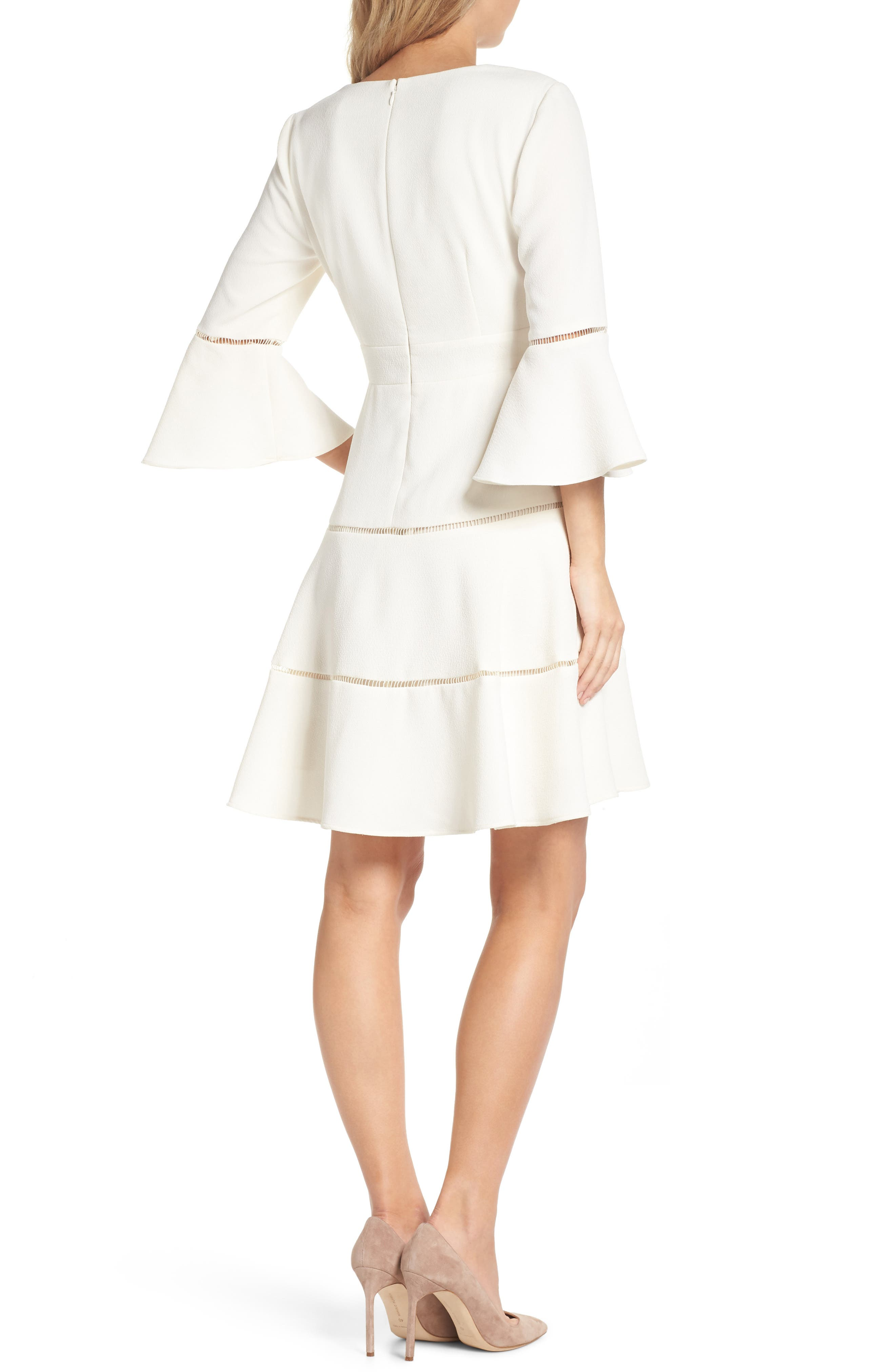 Bell Sleeve Lace Inset Fit & Flare Dress,                             Alternate thumbnail 2, color,                             IVORY