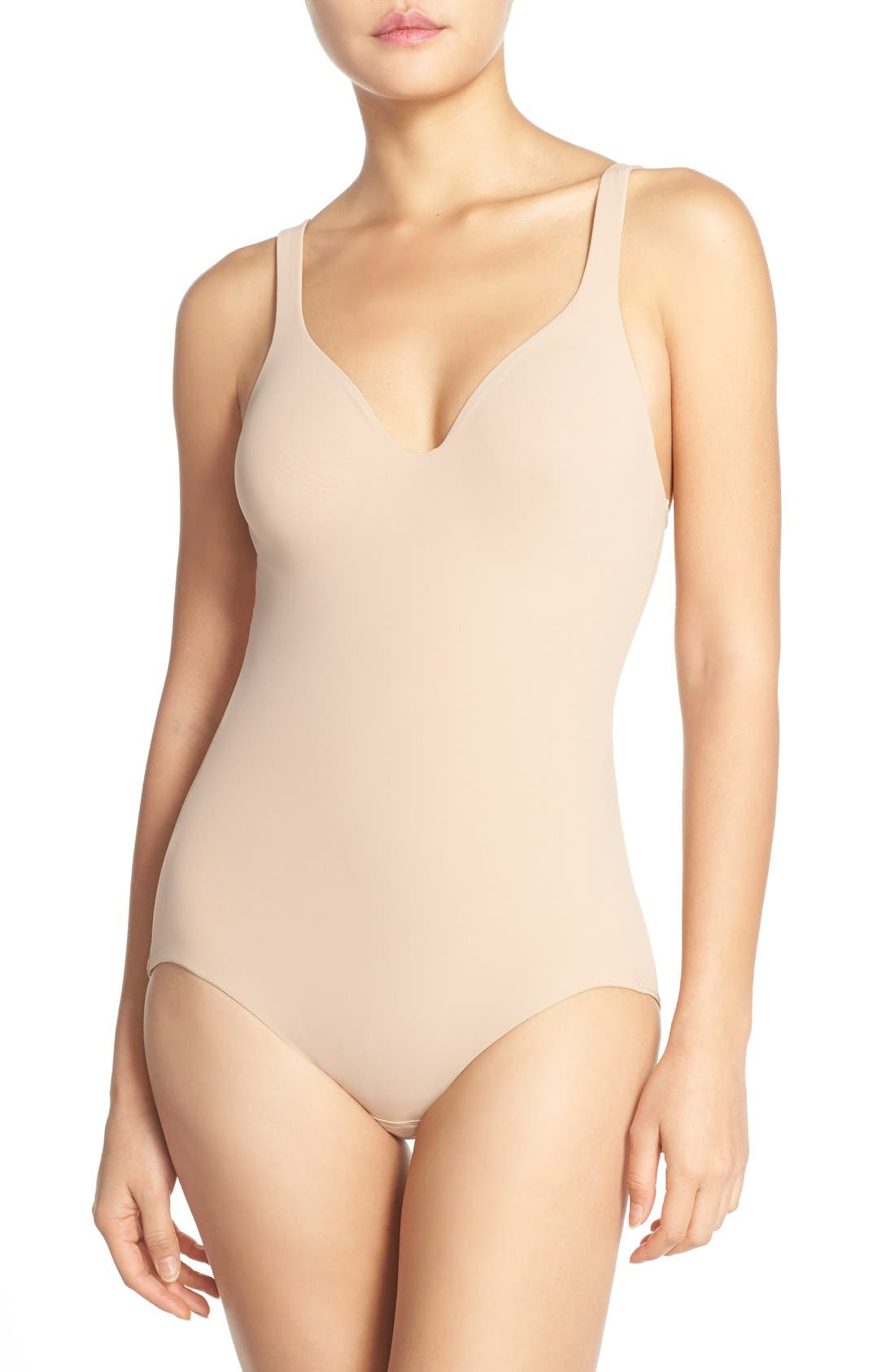 Try a Little Slenderness Shaping Bodysuit,                             Main thumbnail 1, color,                             TOAST
