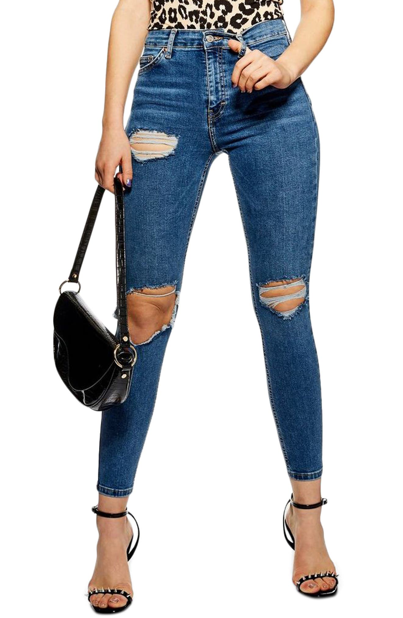 TOPSHOP,                             Jamie Ripped High Waist Skinny Jeans,                             Main thumbnail 1, color,                             MID DENIM