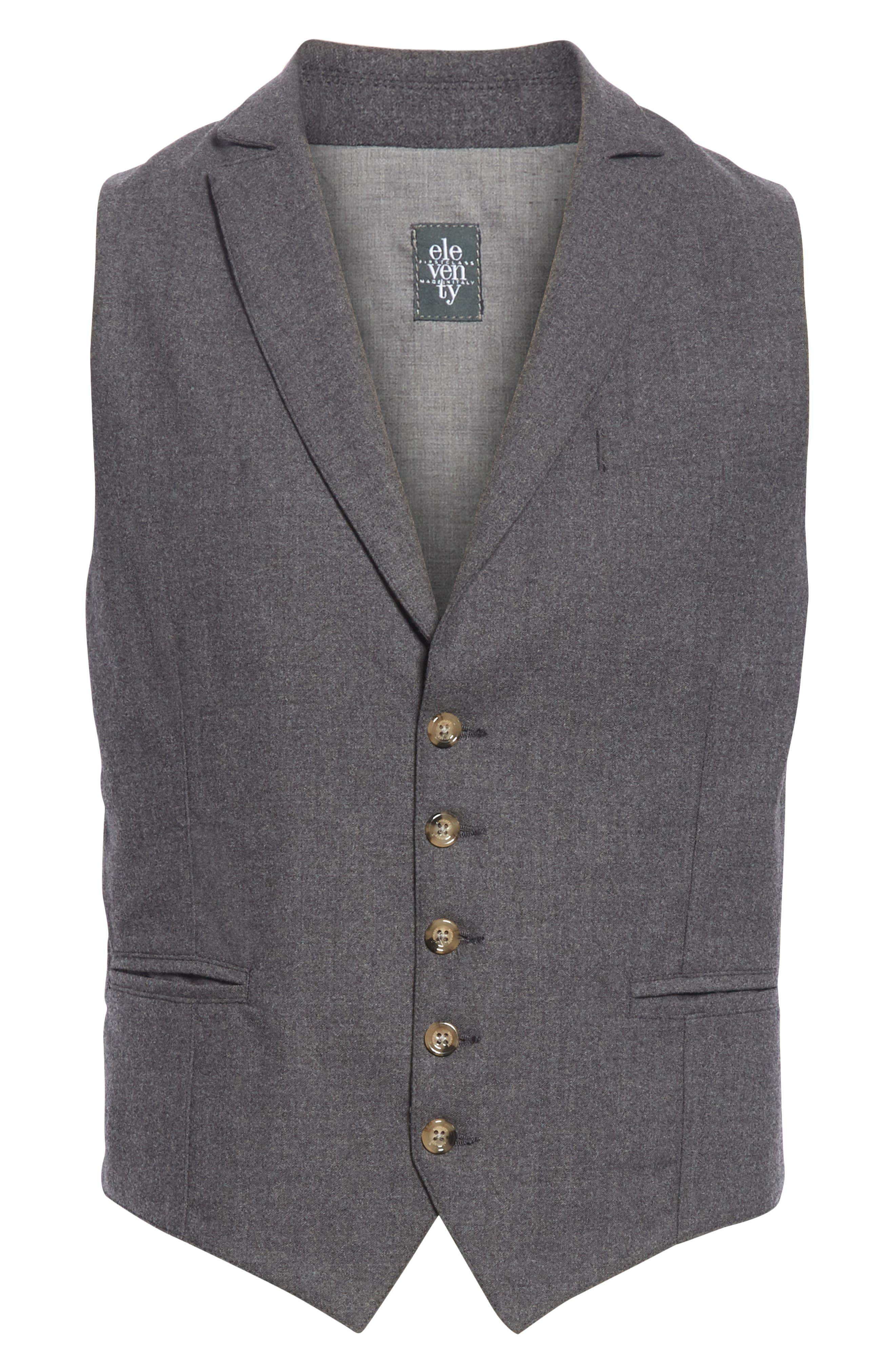 Trim Fit Stretch Wool Vest,                             Alternate thumbnail 5, color,                             DARK GREY