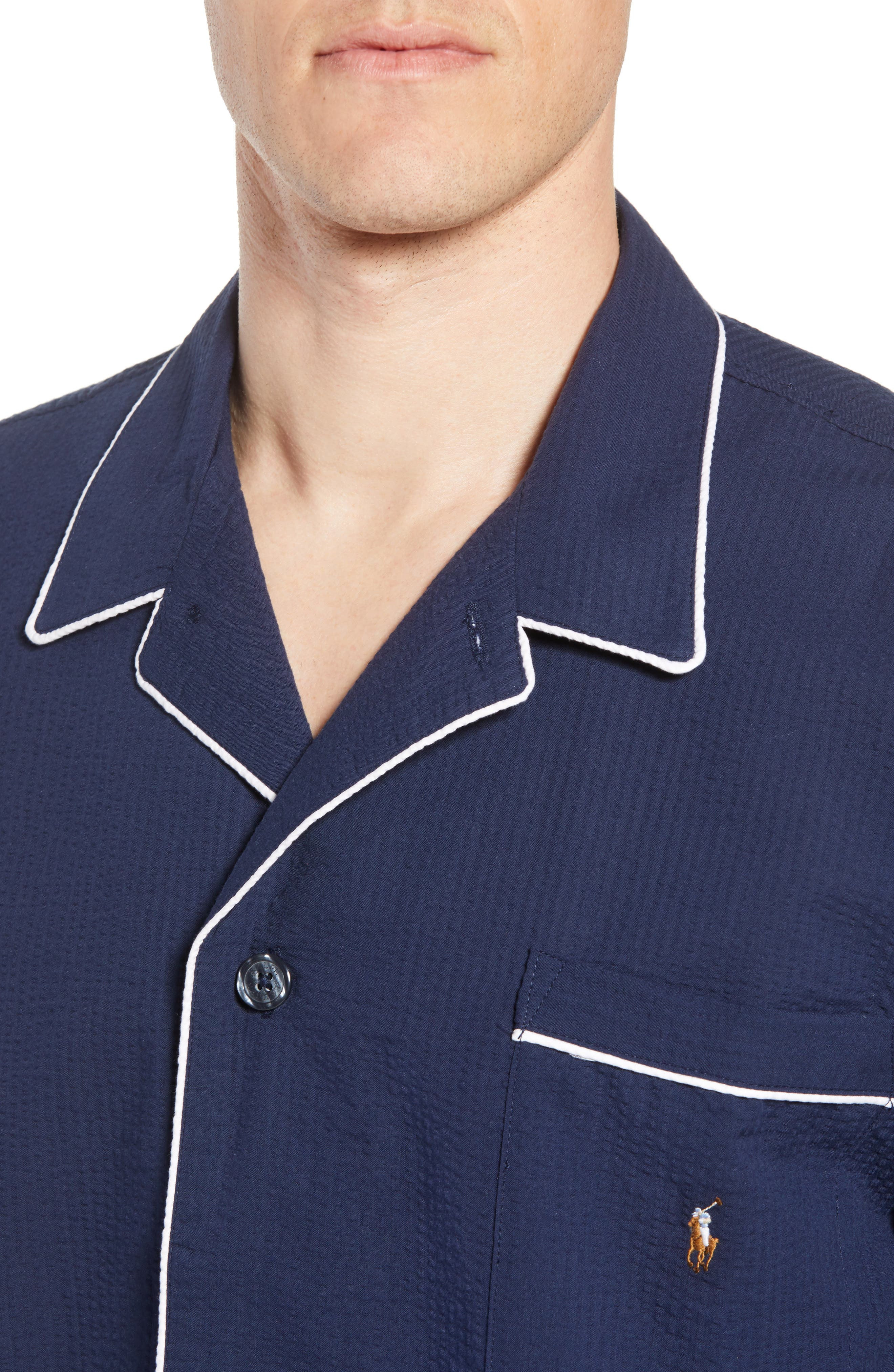 Seersucker Pajama Shirt,                             Alternate thumbnail 4, color,                             421