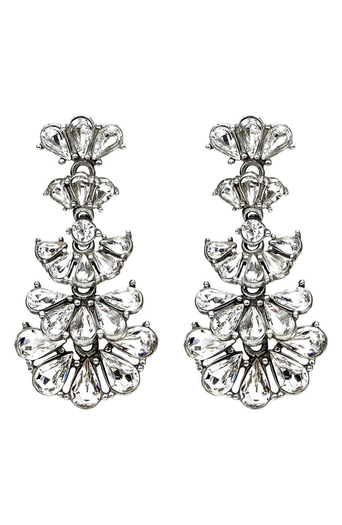 Cascading Crystals Drop Earrings,                             Main thumbnail 1, color,                             CLEAR