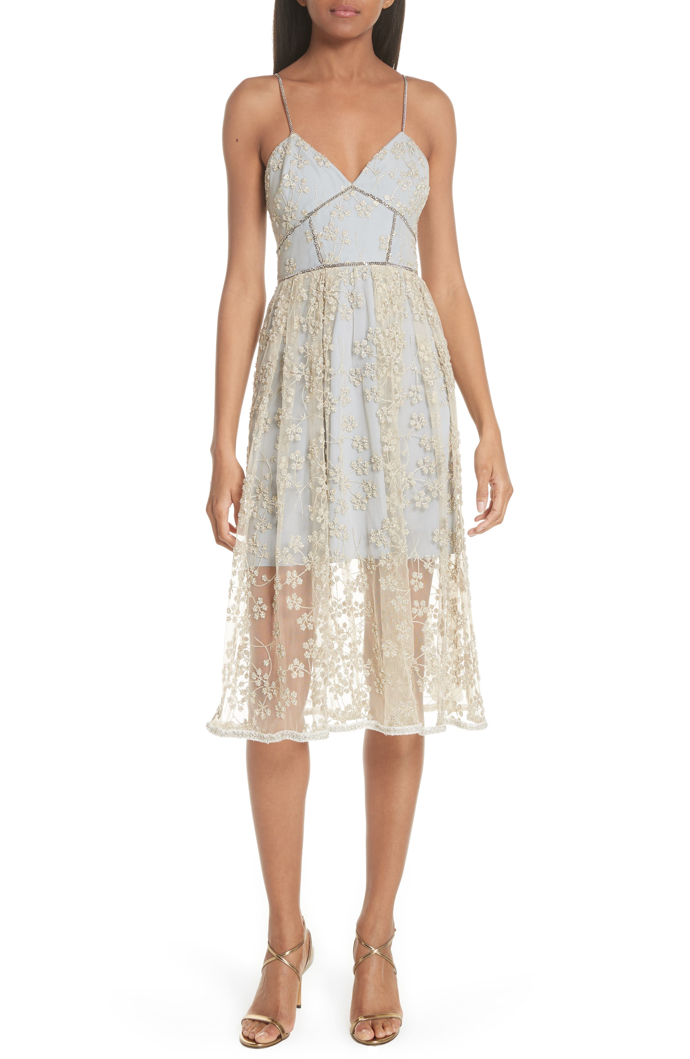Metallic Floral Embroidery Chain Strap Dress,                         Main,                         color, GOLD/ GREY