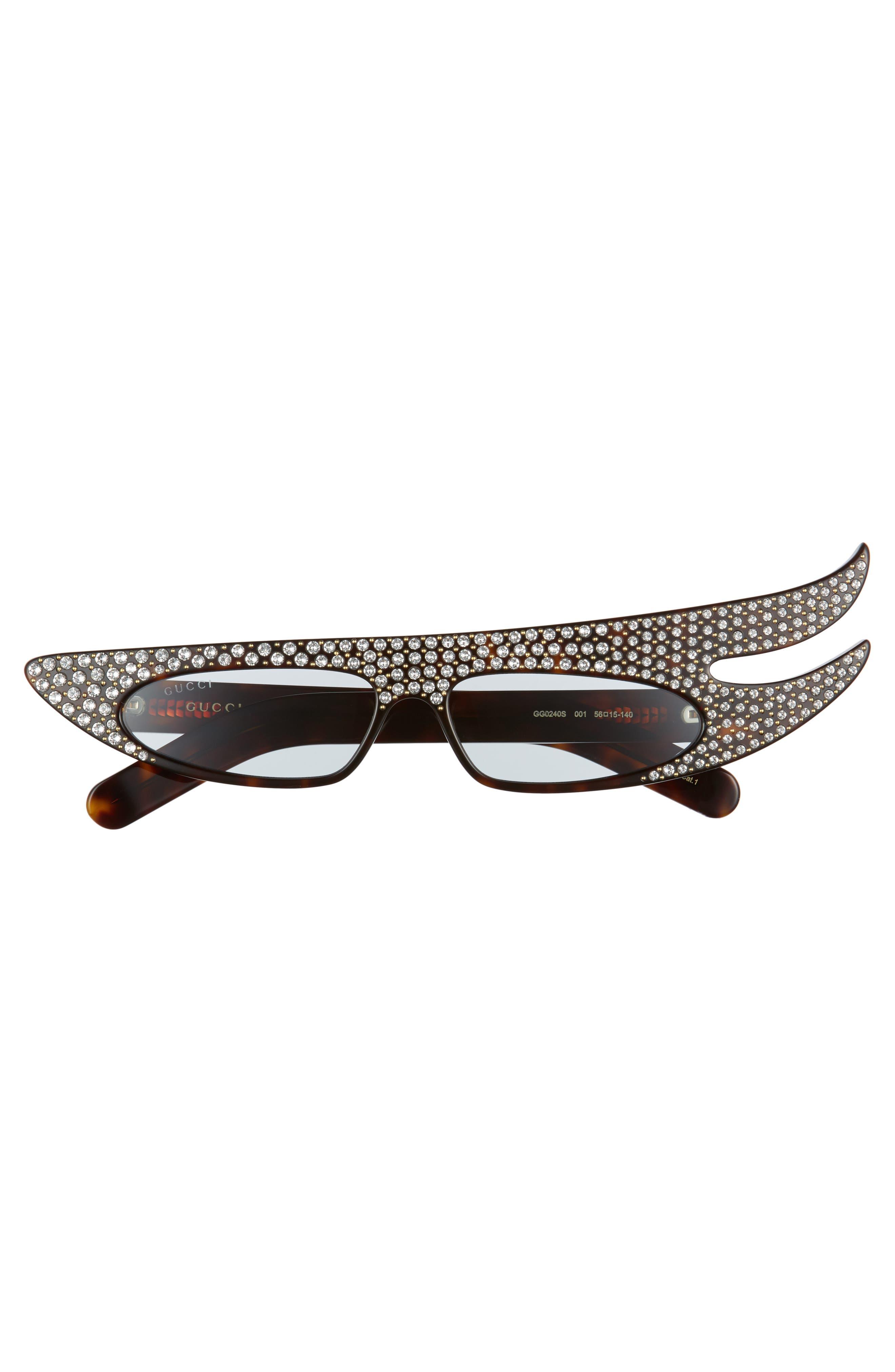 56mm Embellished Statement Sunglasses,                             Alternate thumbnail 3, color,                             HAVANA