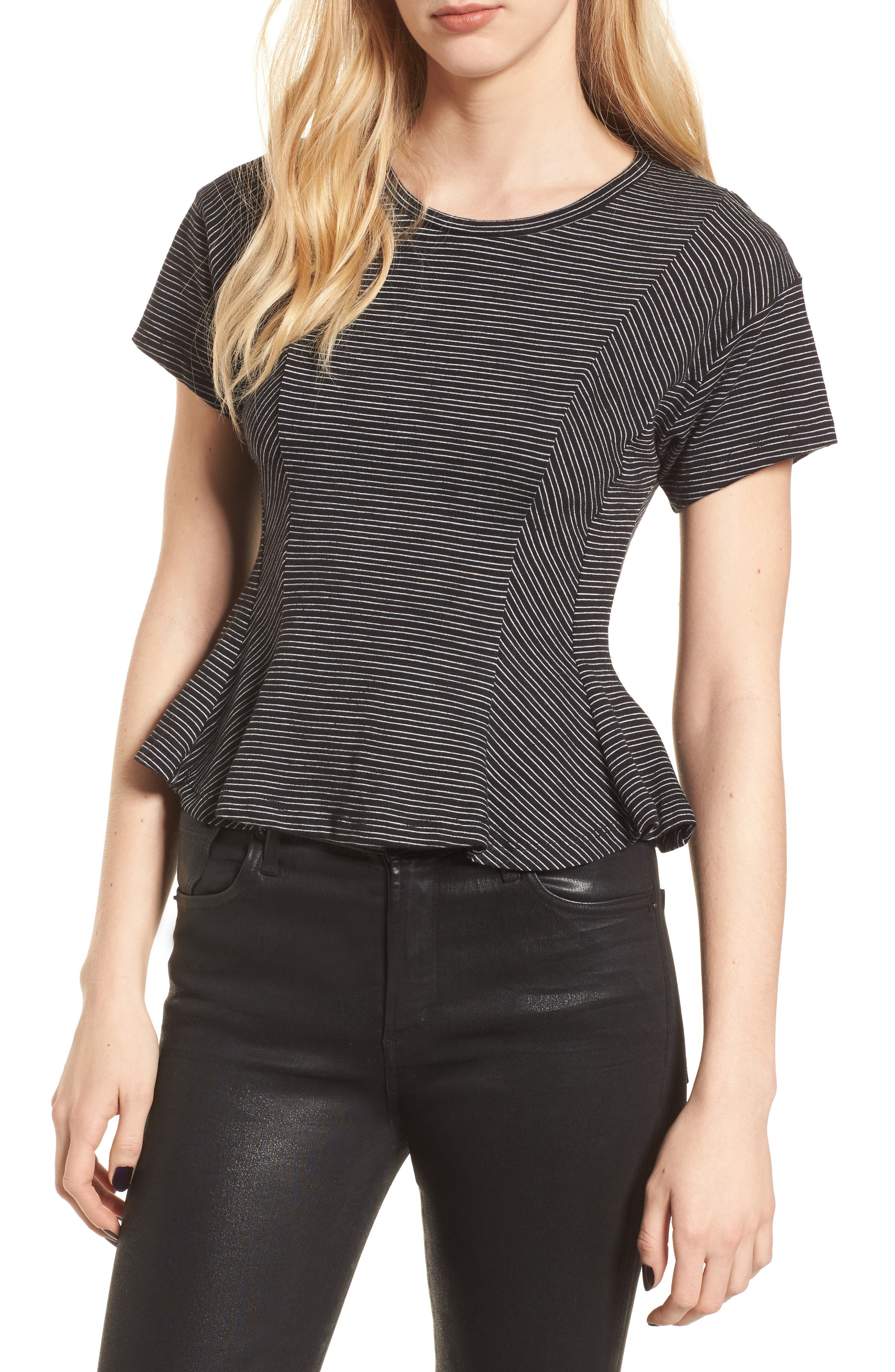 Stripe Peplum Tee,                             Main thumbnail 1, color,