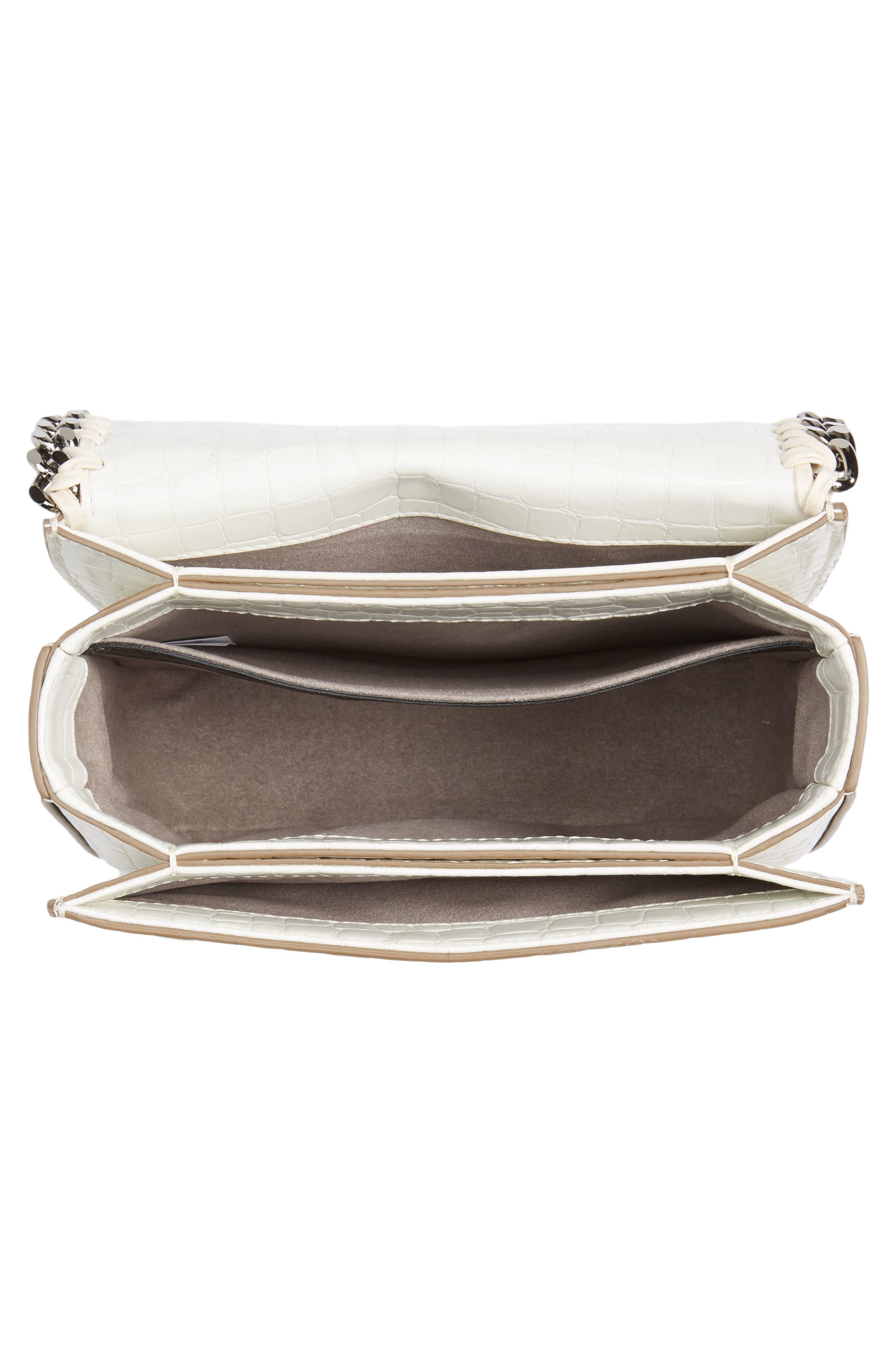 Medium Falabella Box Croc-Embossed Faux Leather Shoulder Bag,                             Alternate thumbnail 4, color,                             102