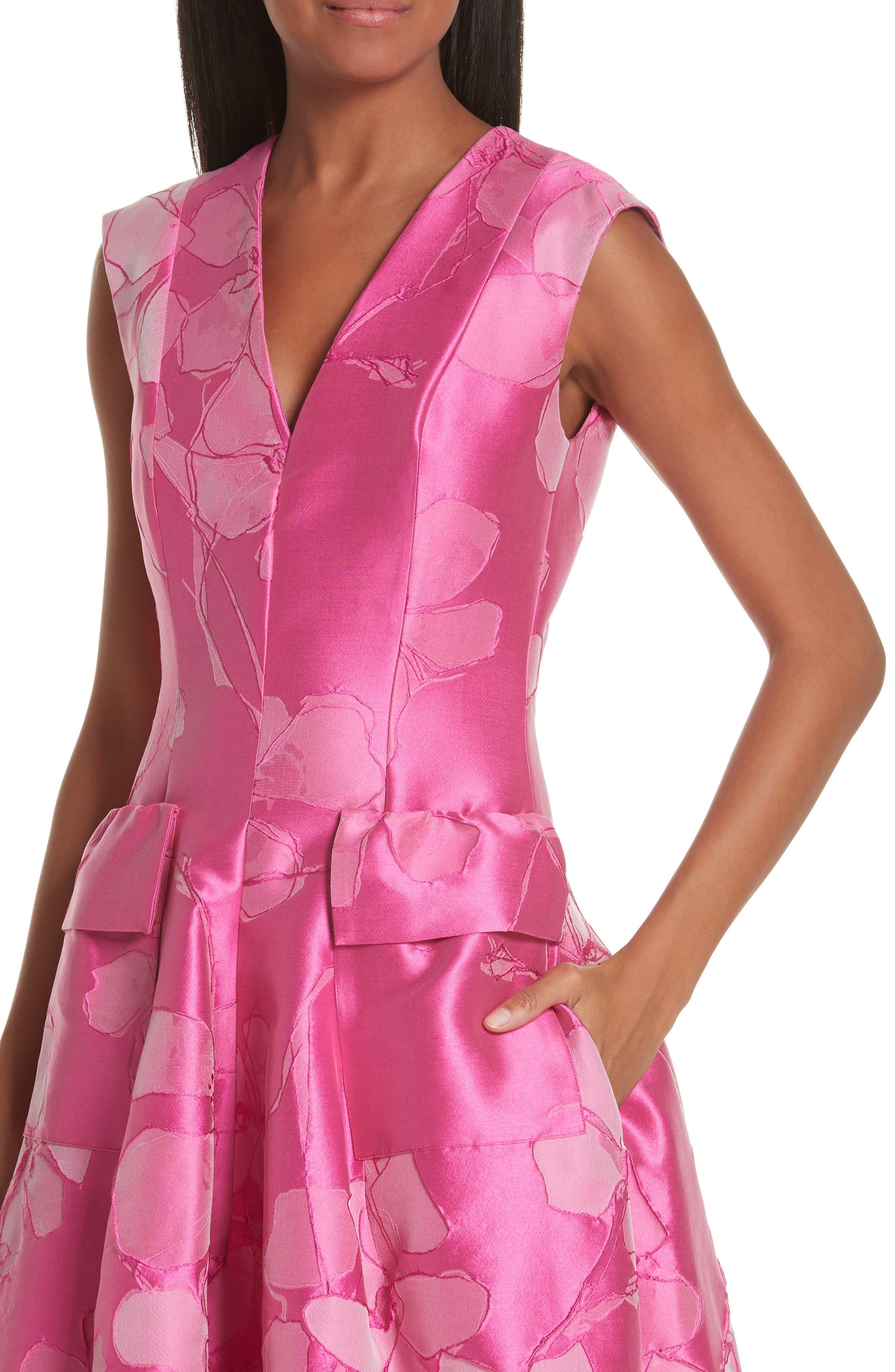 TALBOT RUNHOF,                             Floral V-Neck Evening Dress,                             Alternate thumbnail 4, color,                             FUCHSIA PINK