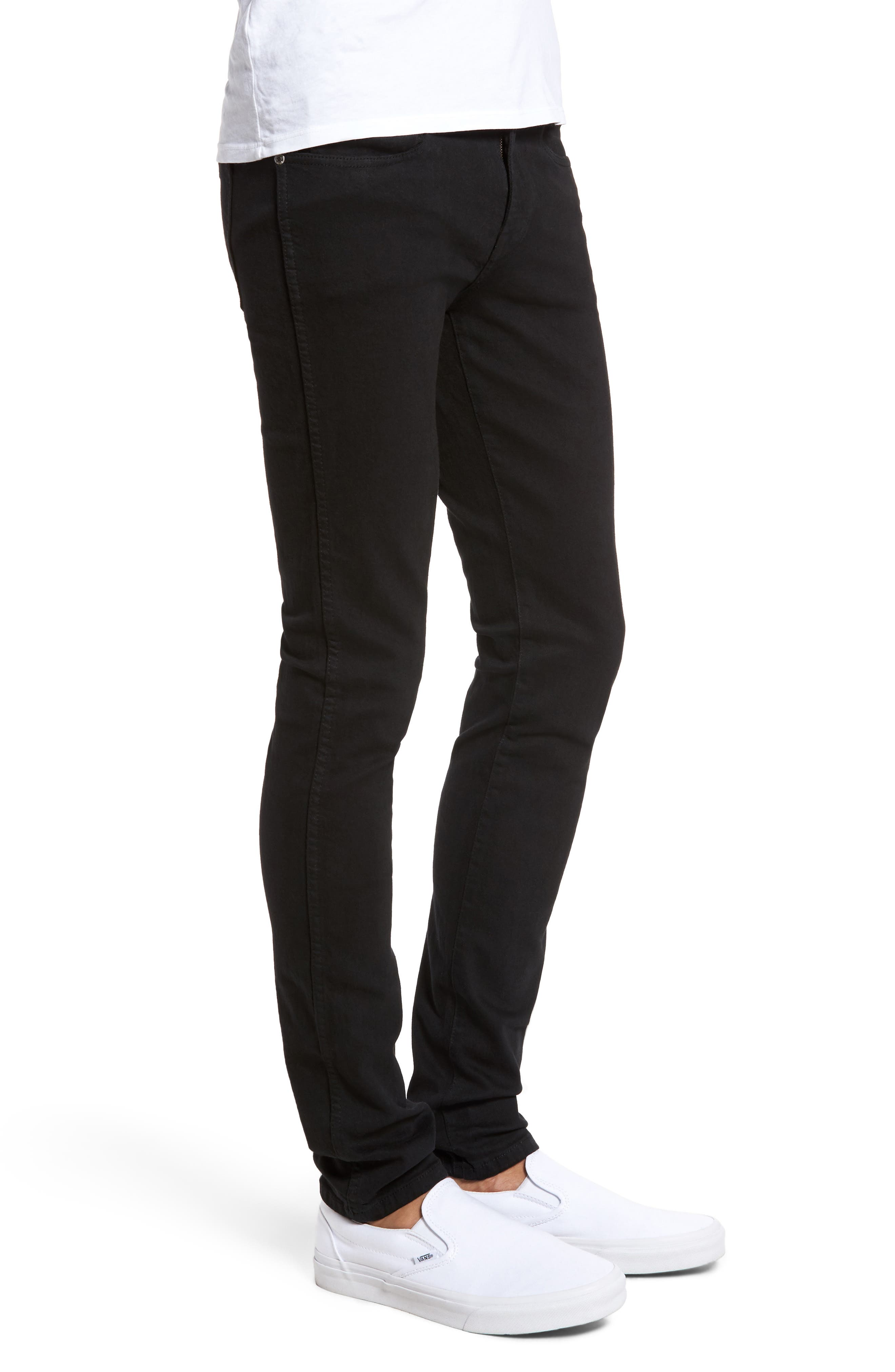 Snap Skinny Fit Jeans,                             Alternate thumbnail 3, color,                             BLACK