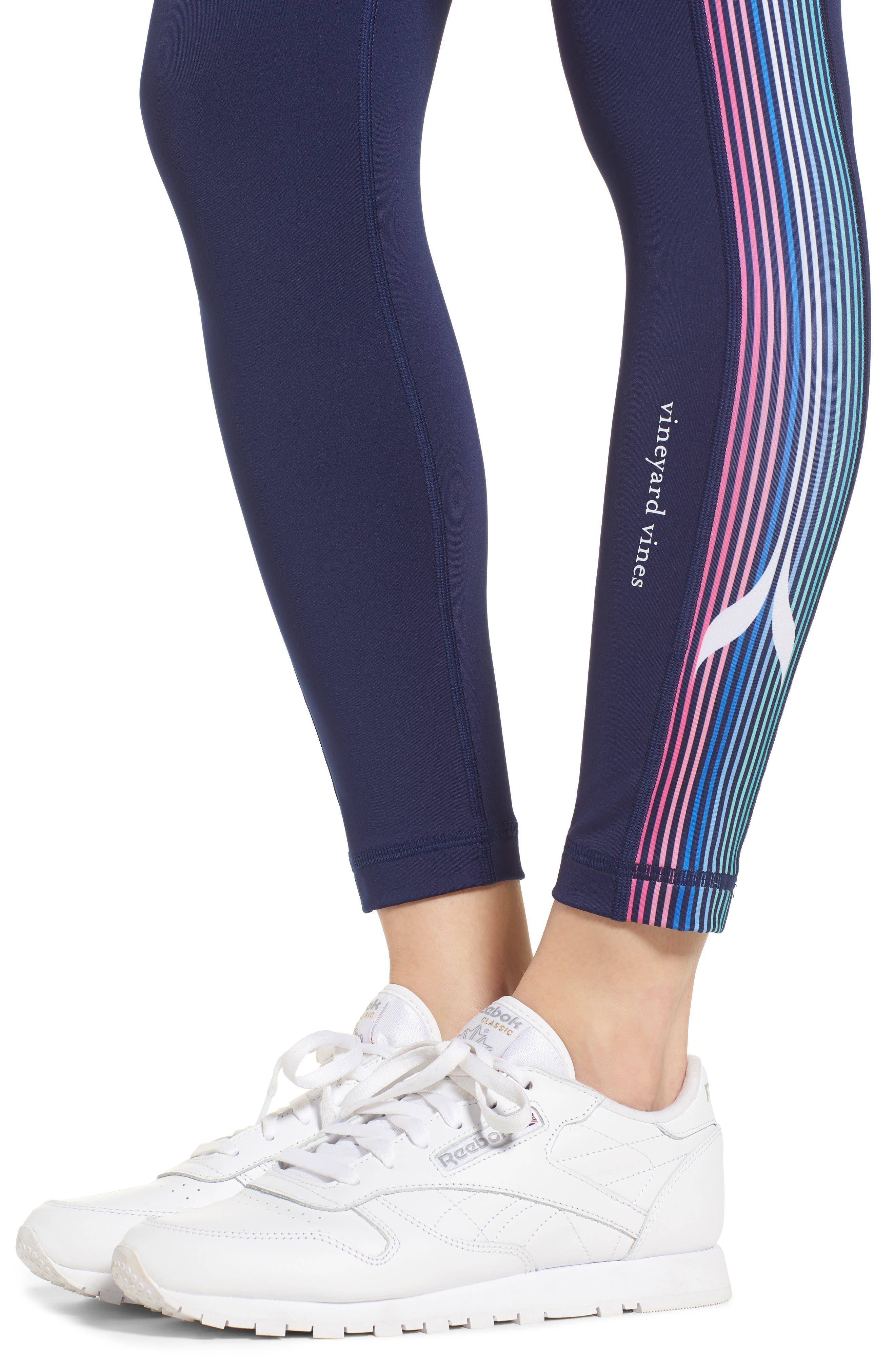 Whale Stripe Sports Leggings,                             Alternate thumbnail 4, color,                             476
