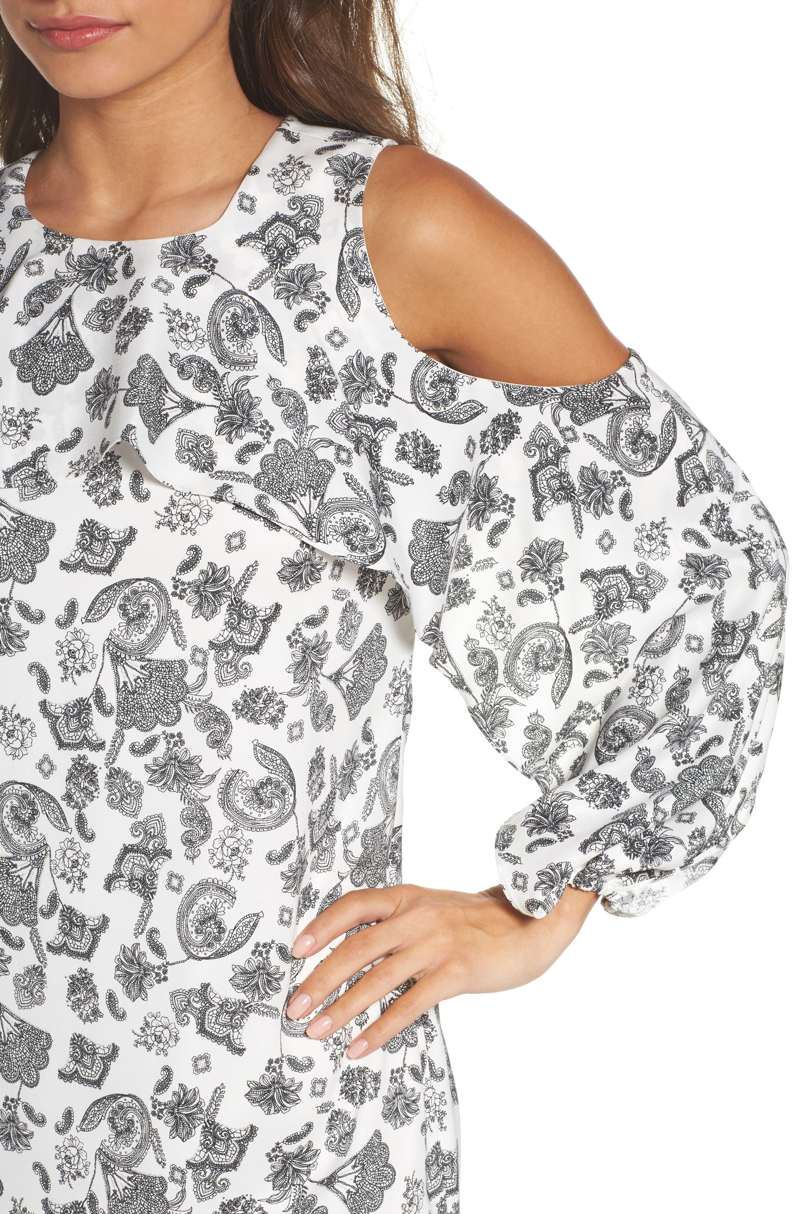 Amber Cold Shoulder Shift Dress,                             Alternate thumbnail 4, color,