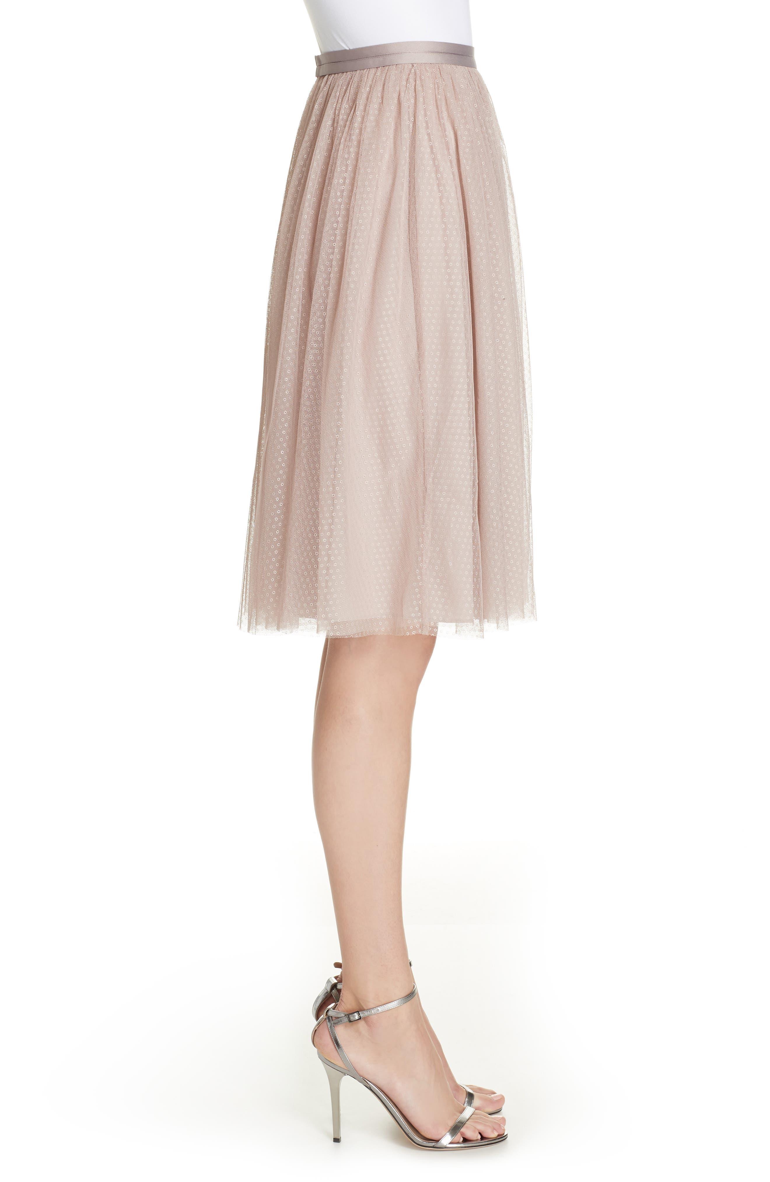 Dotted Tulle A-Line Skirt,                             Alternate thumbnail 3, color,                             DUSK ROSE
