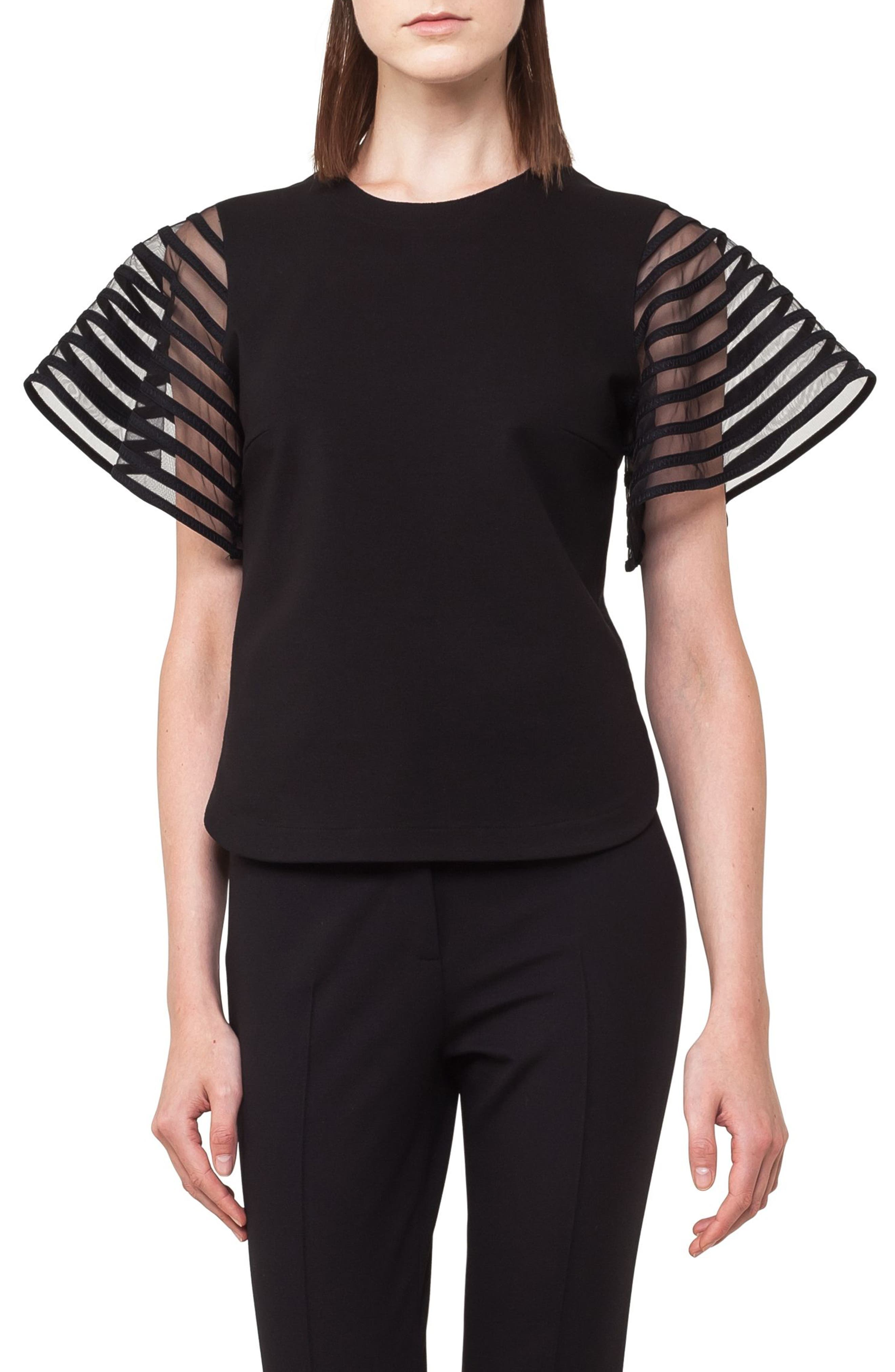 Stripe Tulle Sleeve Top,                             Main thumbnail 1, color,                             009