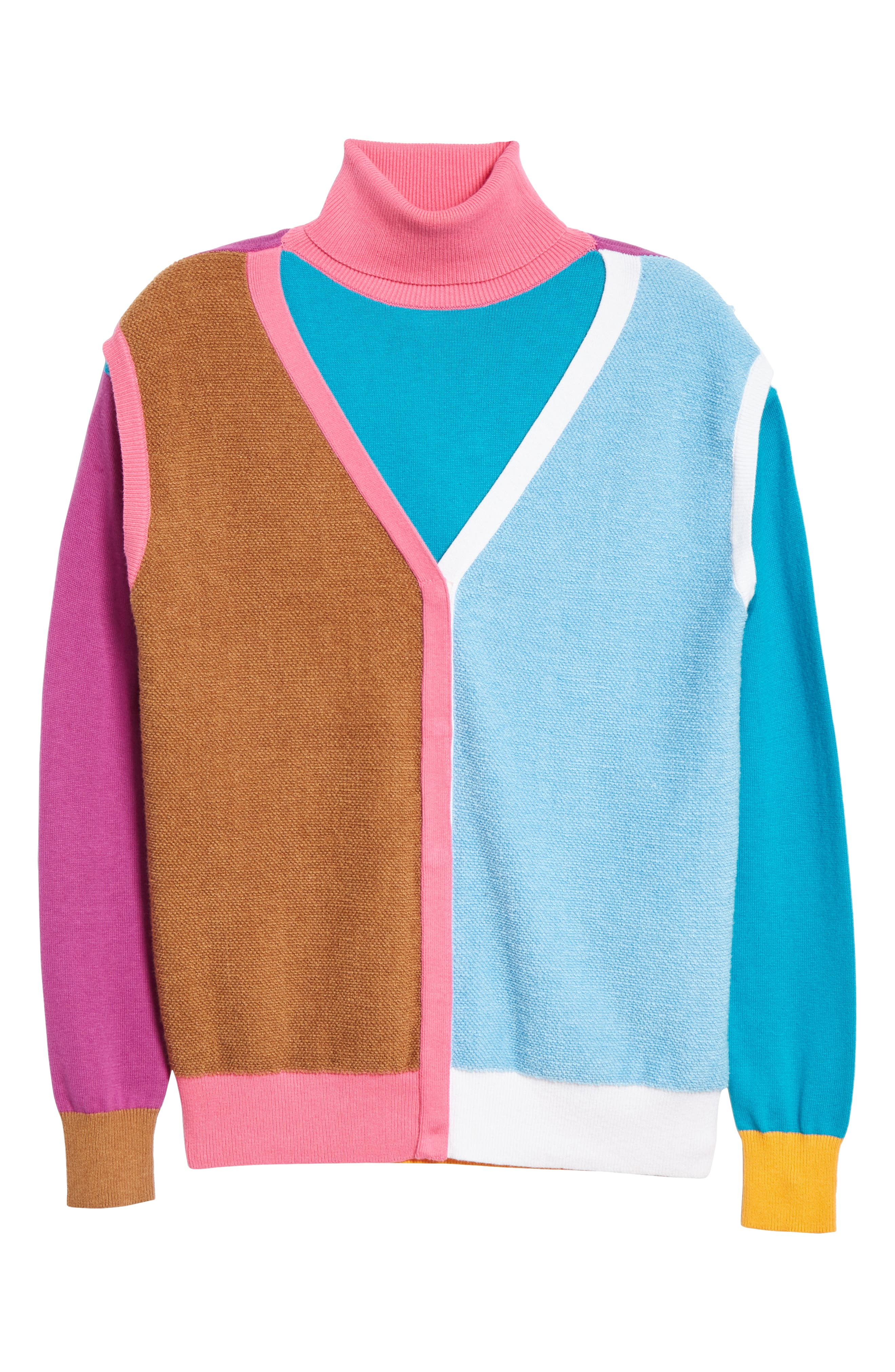 Layered Cotton & Cashmere Sweater,                             Alternate thumbnail 6, color,                             PINK/BLUE/SAND COMBO