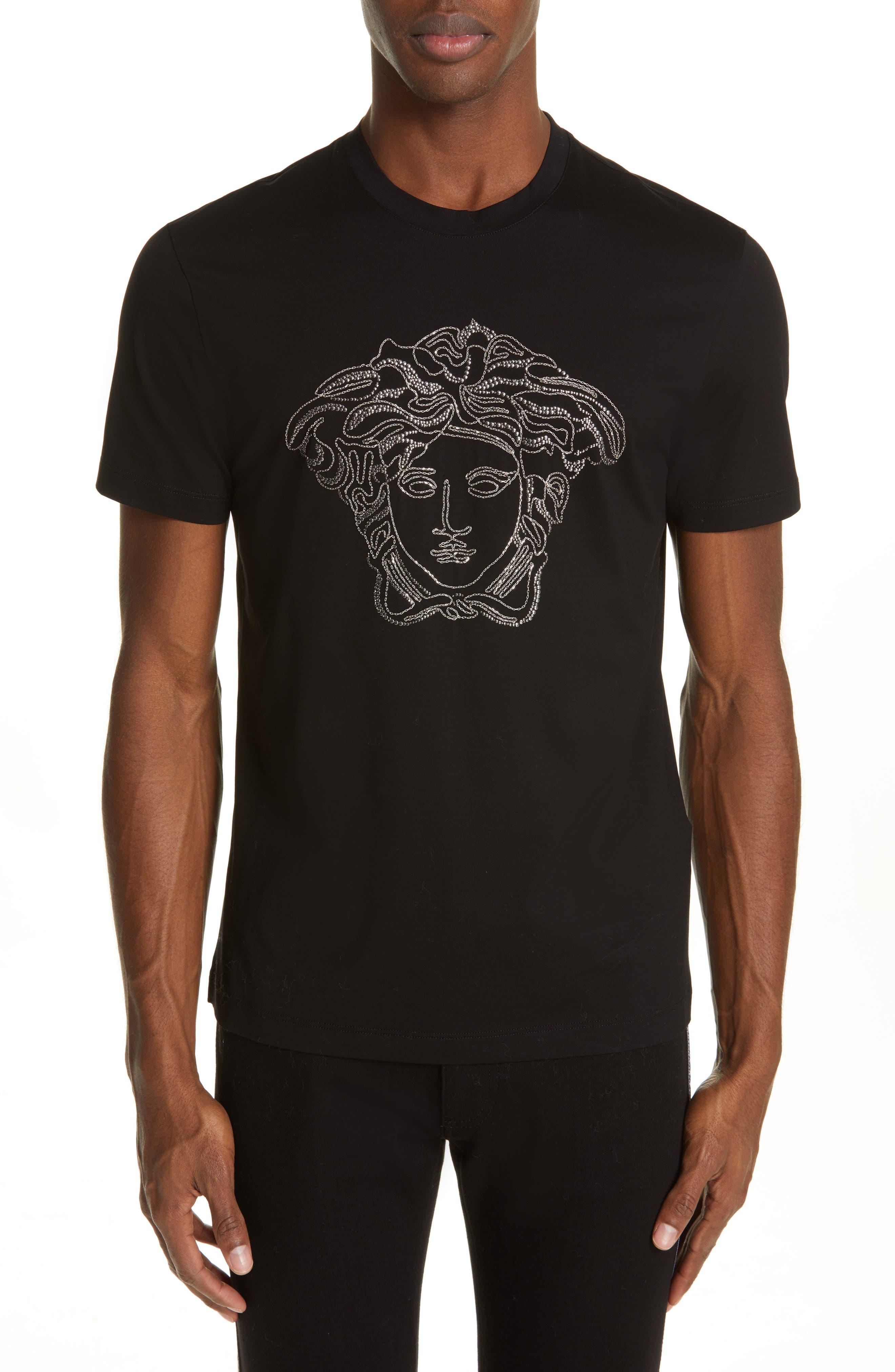 VERSACE Beaded Medusa T-Shirt, Main, color, BLACK