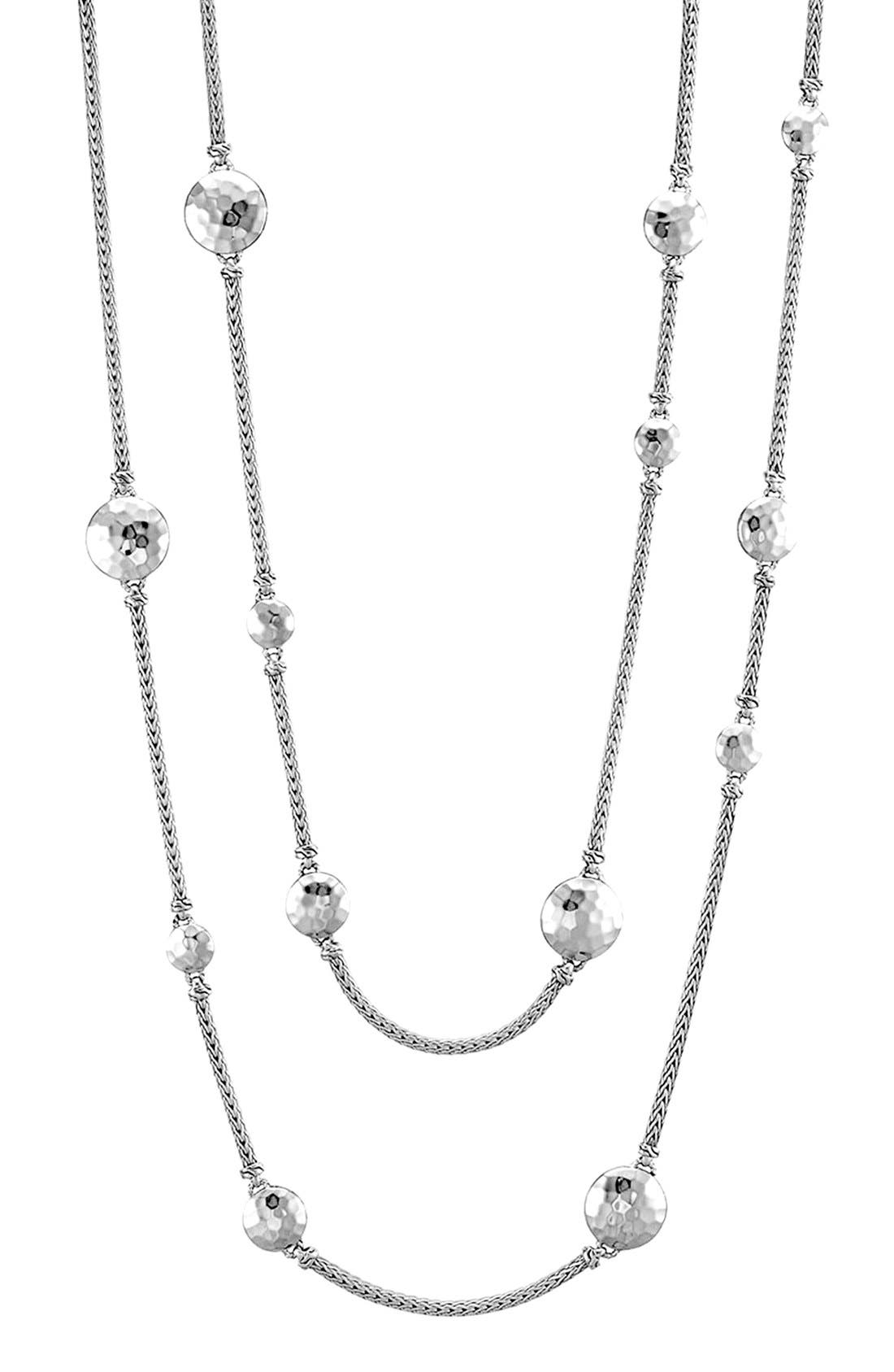 Dot Hammered Station Necklace,                             Alternate thumbnail 3, color,                             SILVER